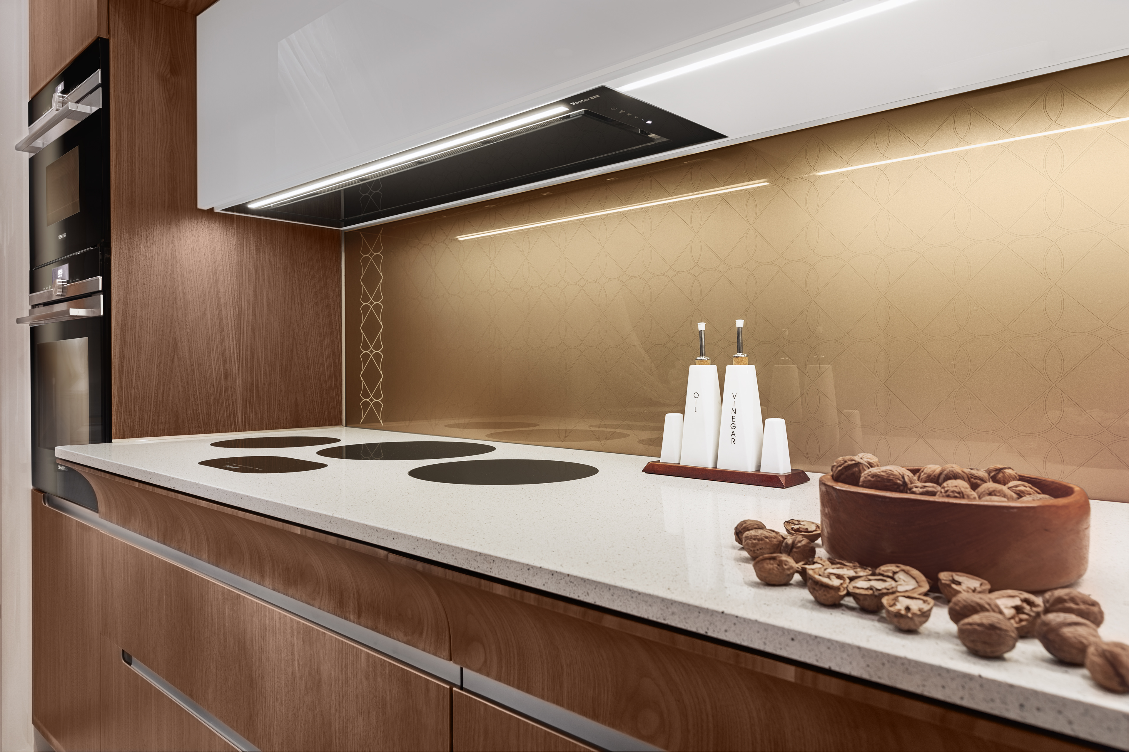 Walnut veneer kitchen designing set photographing and editing for advertising