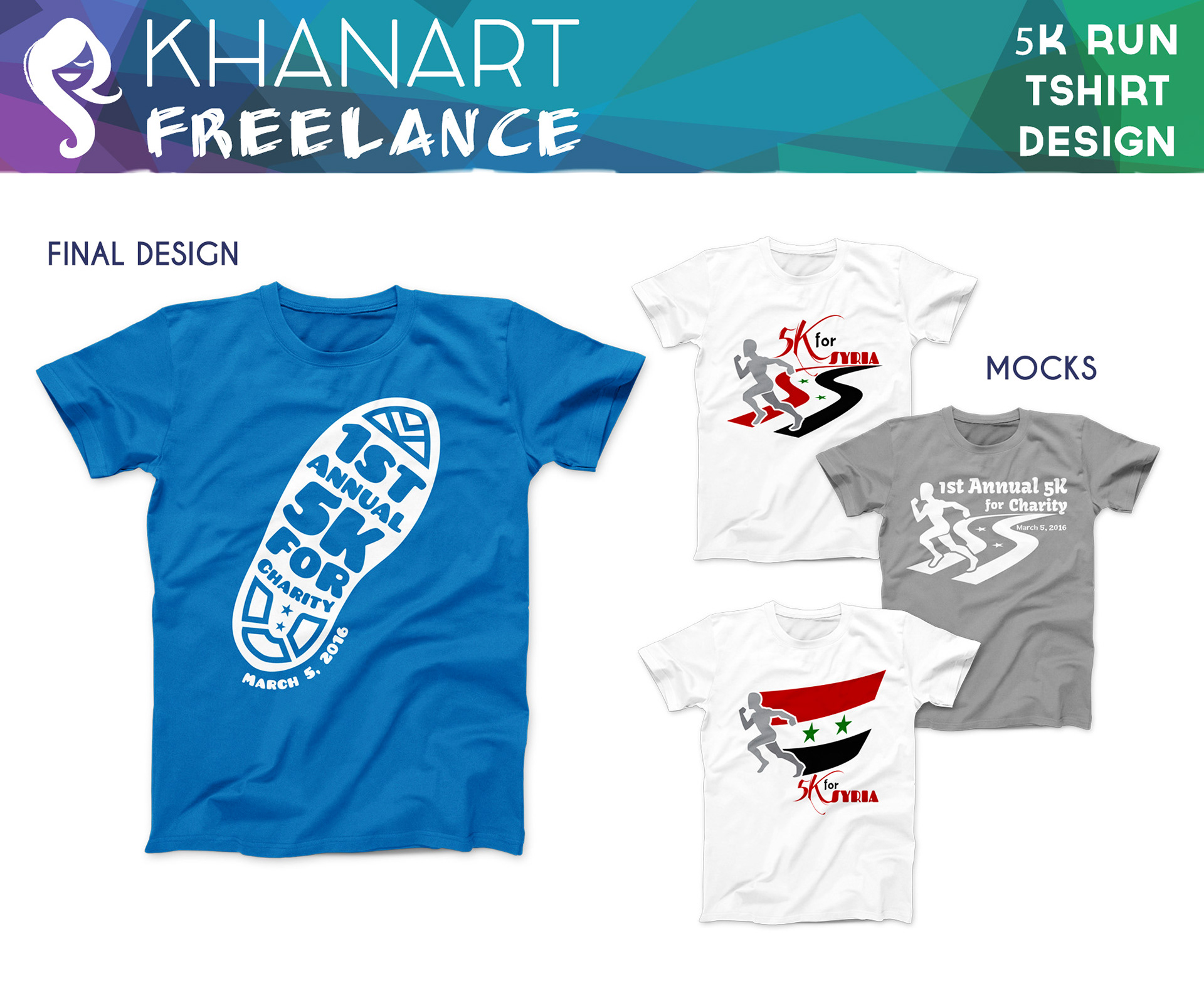 Khanart The Art Of Rehana Khan 5k Run Tshirt Design