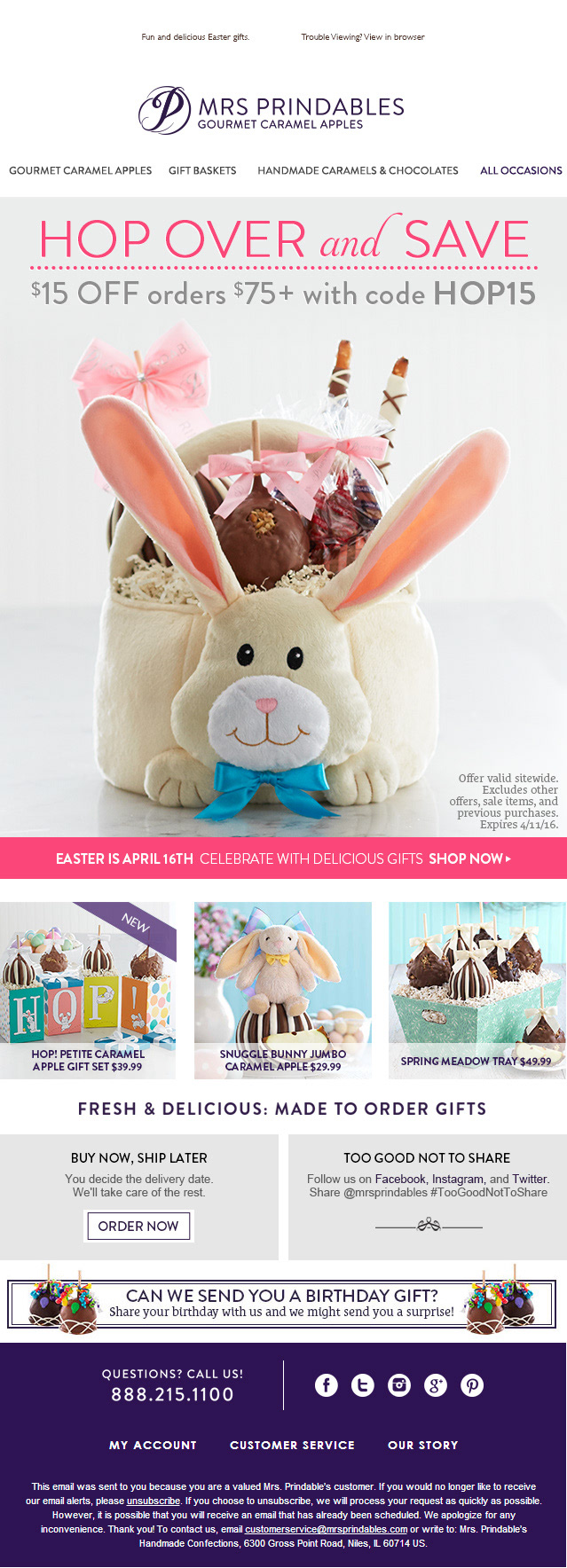 Sara michaels easter promotional email for easter i decided to opt for a more fun cute way of showing off the new easter bunny basket id designed with an animated gif full email layout below negle Gallery