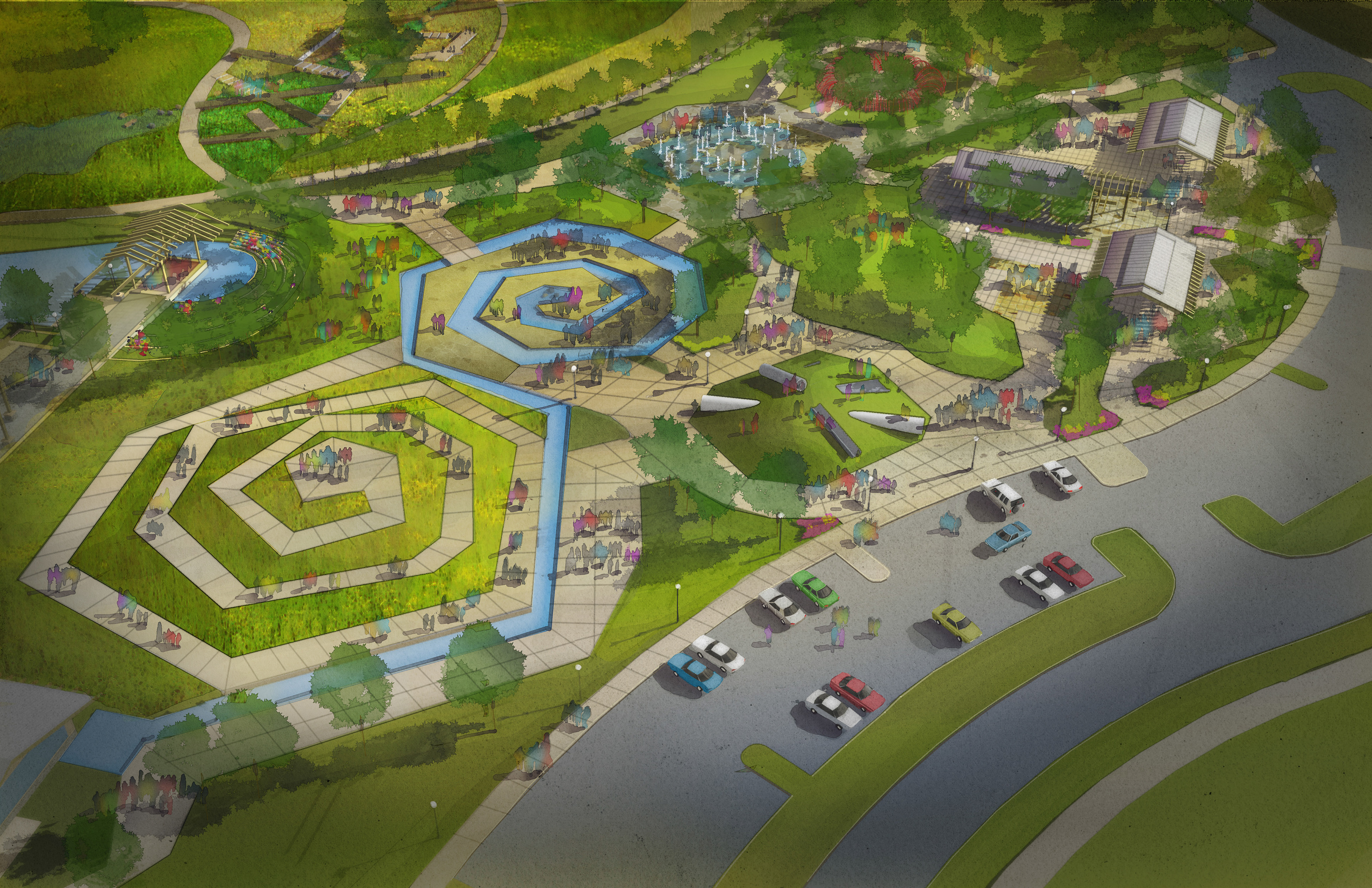Illustrations And Design Work For Two Park Projects In West Des Moines Carlisle IA Workflow Sketch Up Rhino Cinema 4D Photoshop Landscape