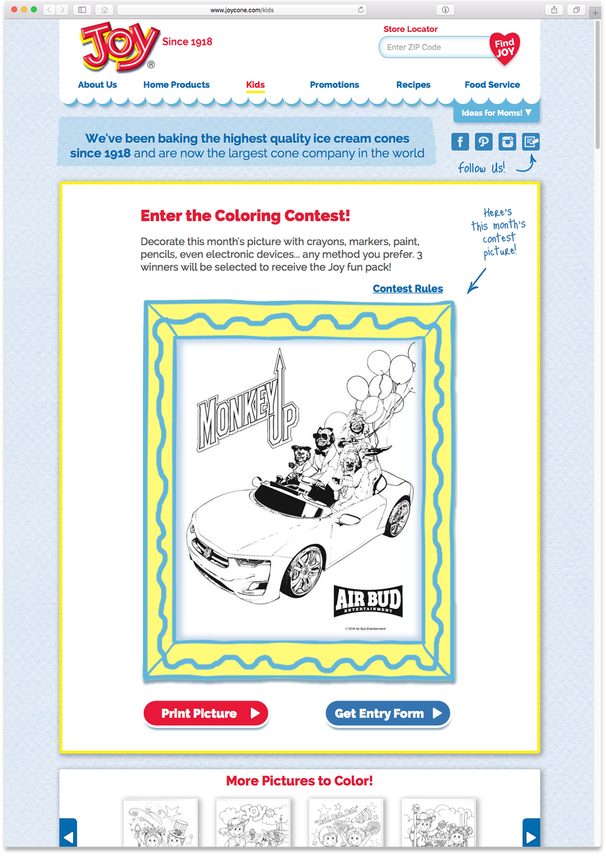 Here Is A Screen Capture Of The Final Destination For Designed Coloring Page Cross Promotional Kids Contest On Joy Cone Website