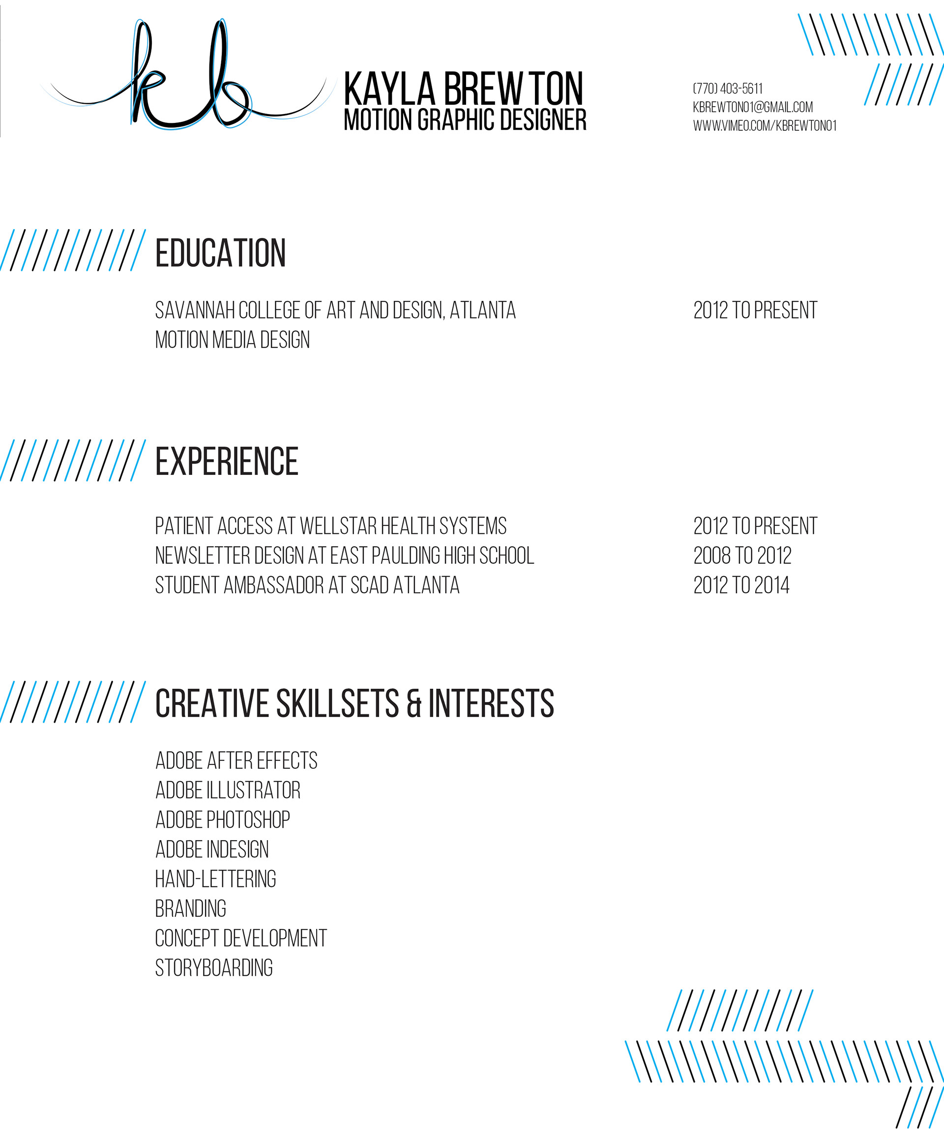 Kayla Brewton | Motion Graphics Designer - Resume