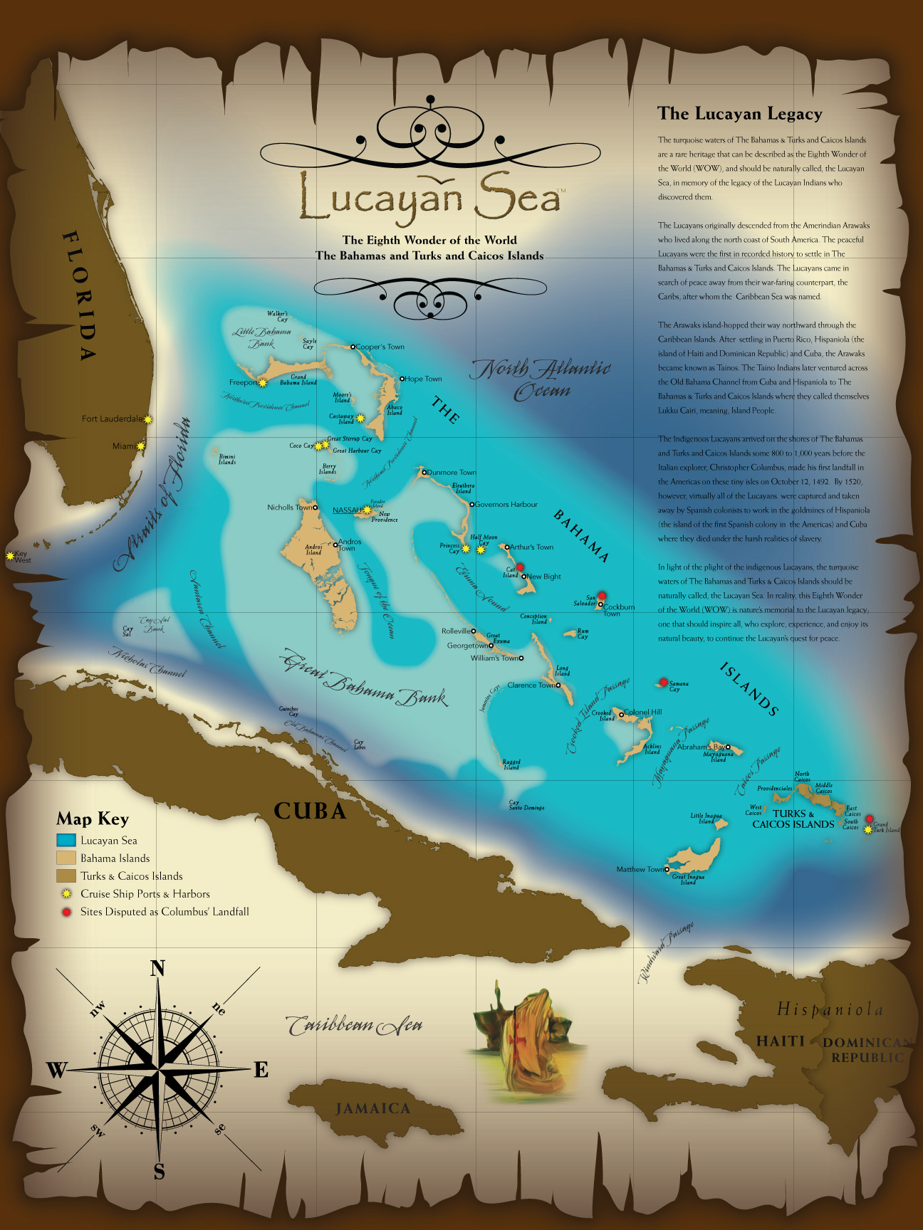 Eric olason mapmaker cartographic artist oldstyle lucayan sea single oversize map created for a private client who contracted me through elance highlighting the bahamas and the aquatic area around known as the publicscrutiny Images