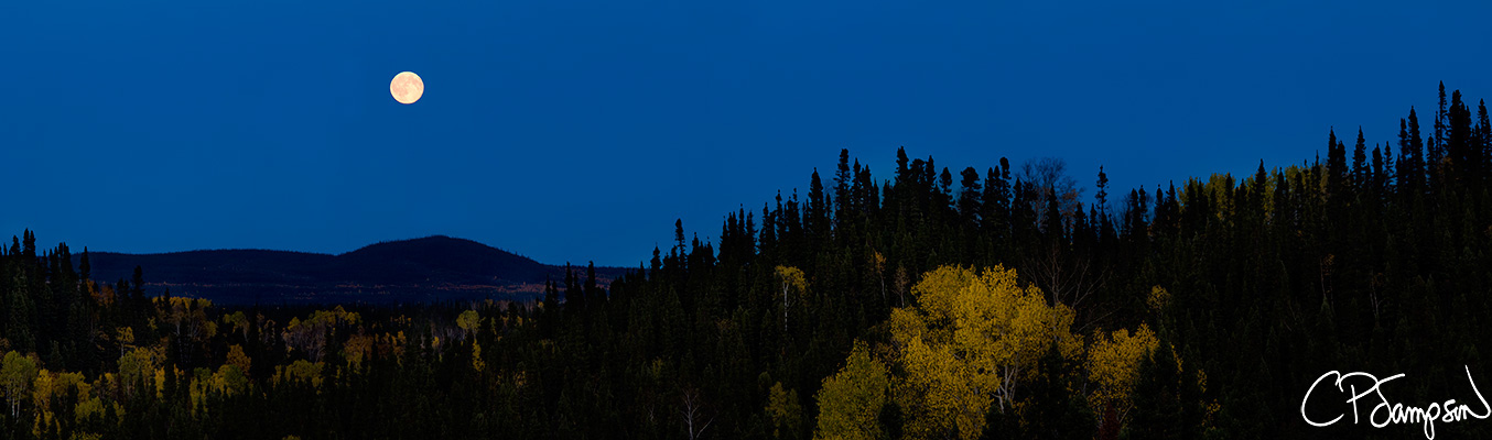 Moon Lit Churchill River Valley Panorama