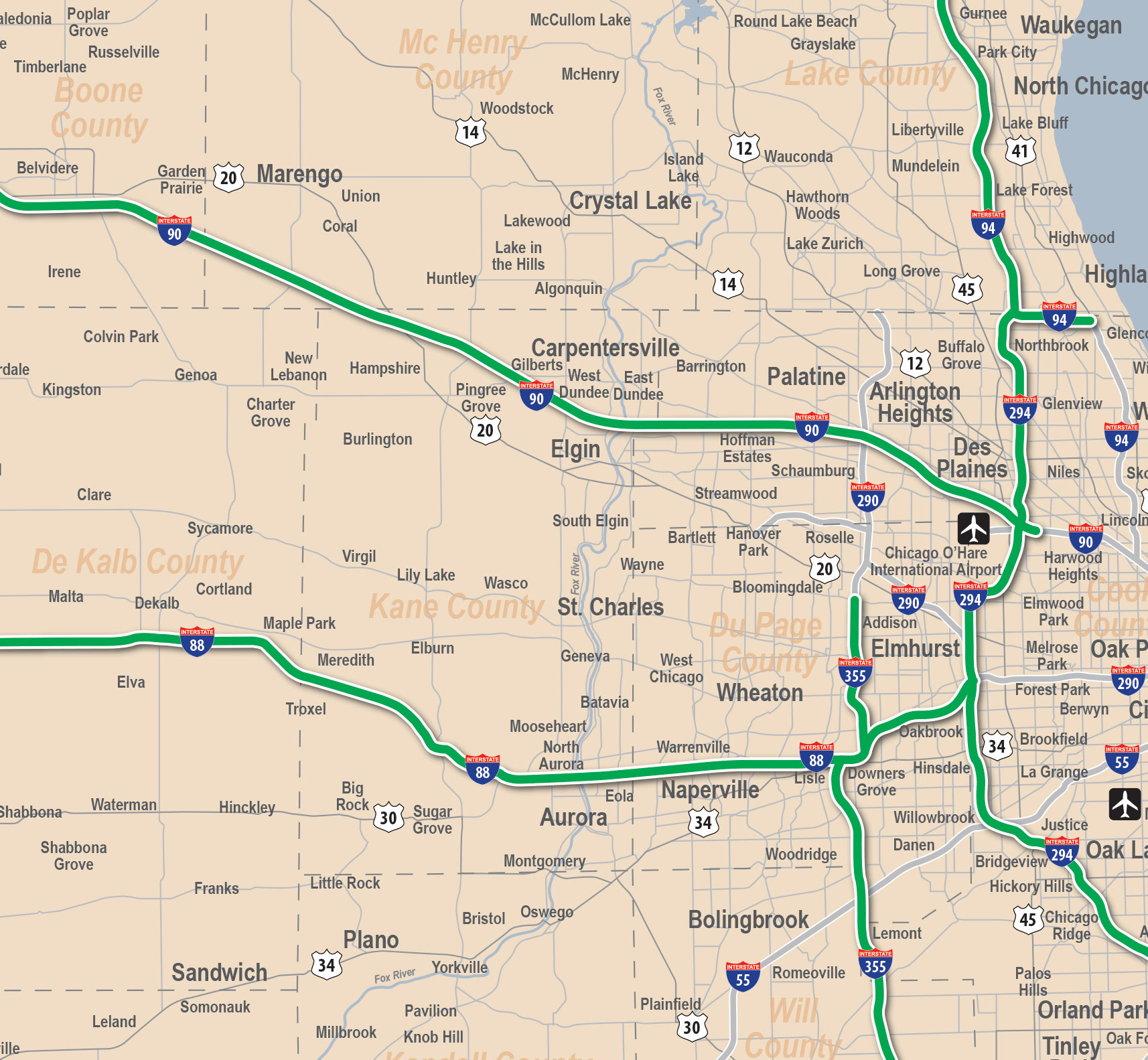 Tollway Illinois Map.Walter Afalla Illinois Tollway System Map For Rent A Toll