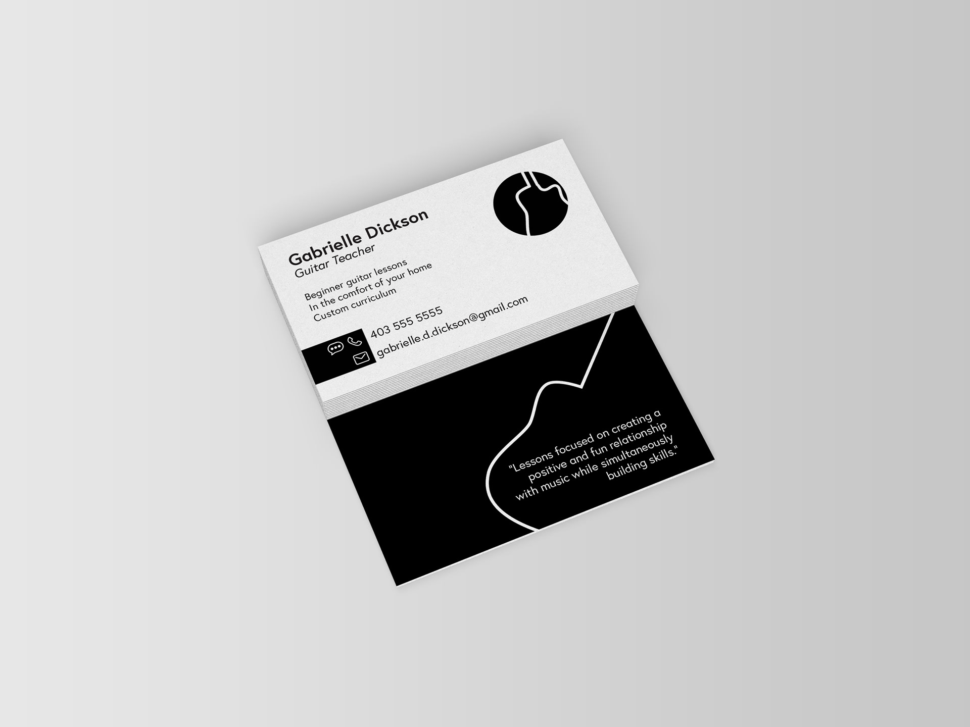 Gabrielle dickson guitar lessons business cards skills graphic design software adobe illustrator project type personal project year 2017 reheart Gallery