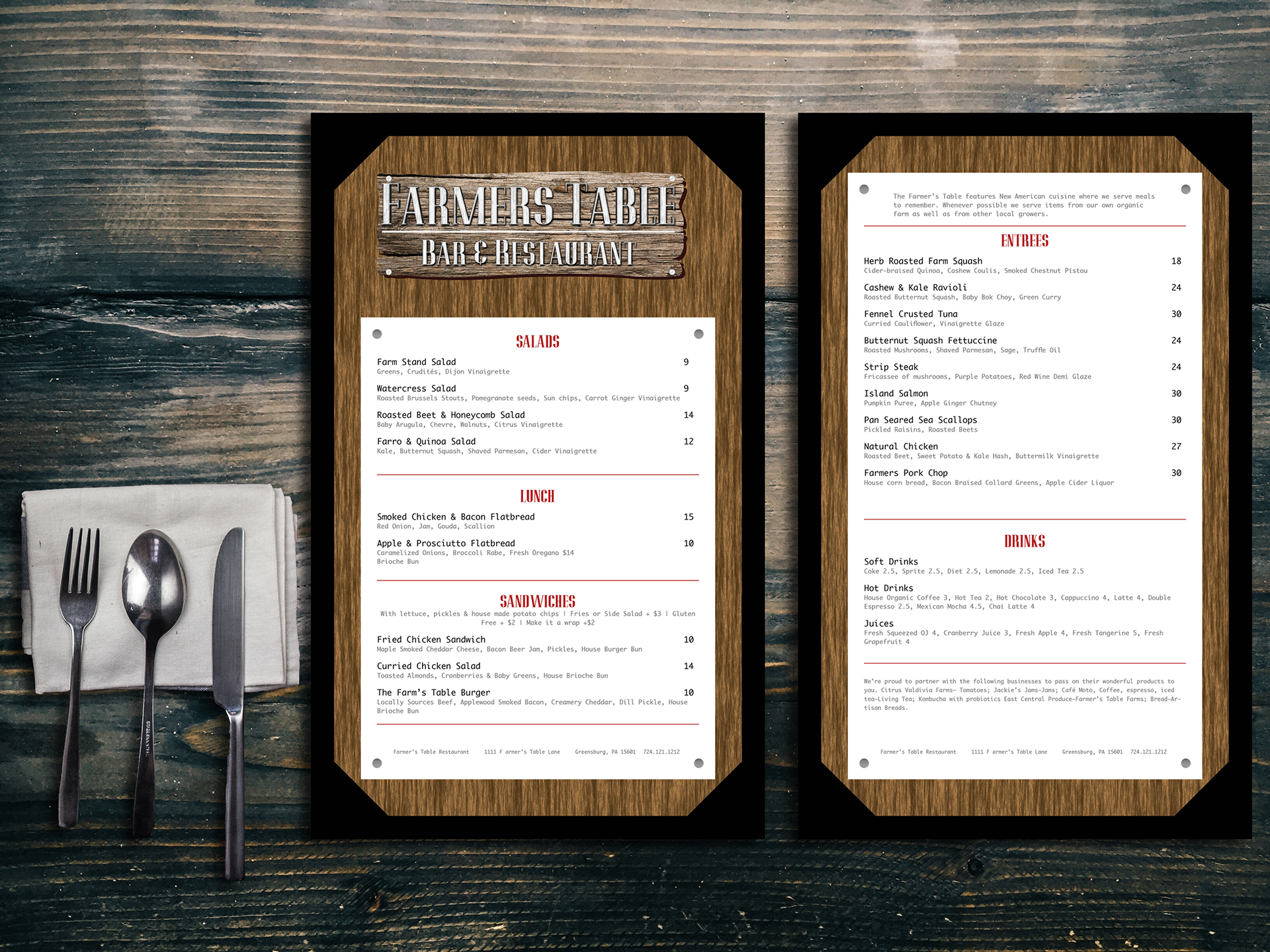 John Kenneally Farmers Table - Farmers table menu