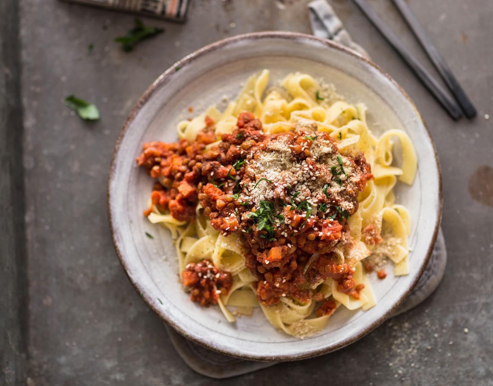 Berglinsen Bolognese mit Spagetti
