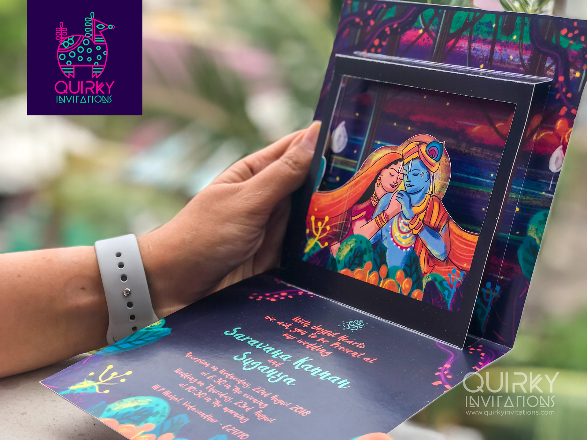 Quirky indian wedding invitations radha krishna indian wedding card 300 gsm board stopboris Gallery