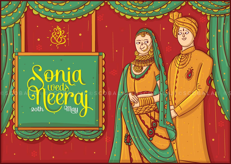 Quirky Indian Wedding Invitations - Marwari Wedding Invitation