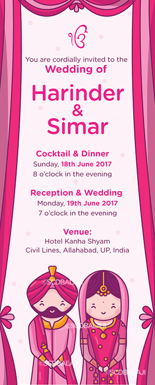 Quirky Indian Wedding Invitations Sikh Wedding