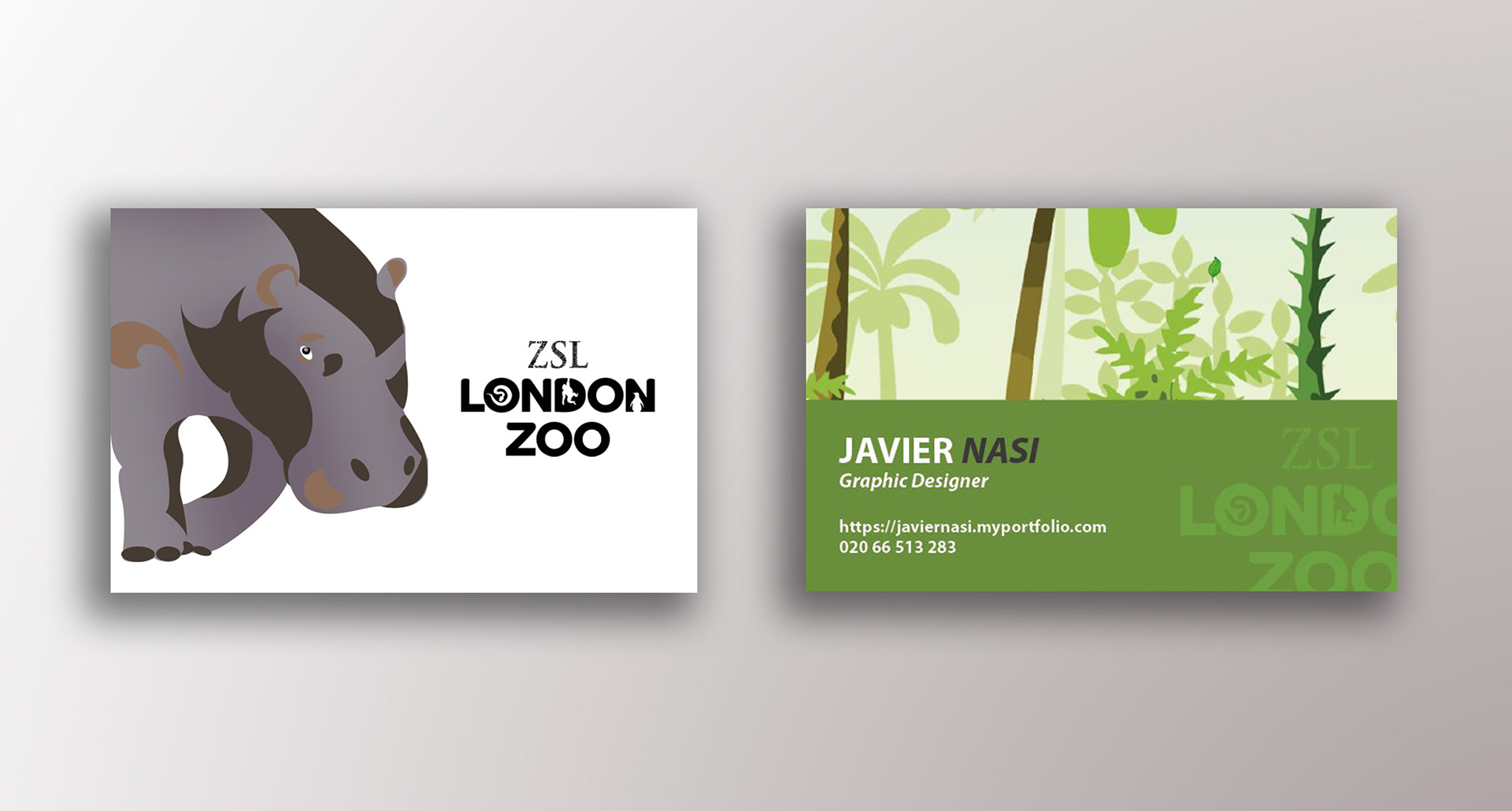 Javier Nasi - London Zoo: business cards, brochure and T-shirts