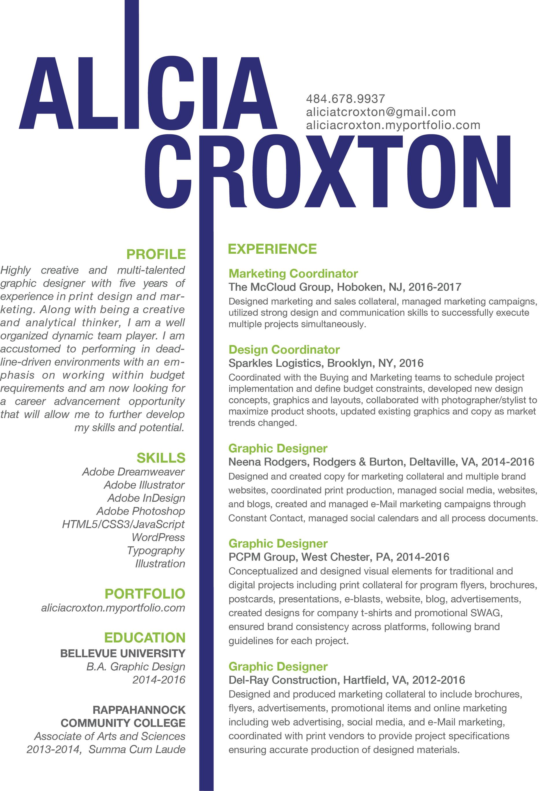b90a54ba5 Alicia Croxton - Resume / Alicia Croxton