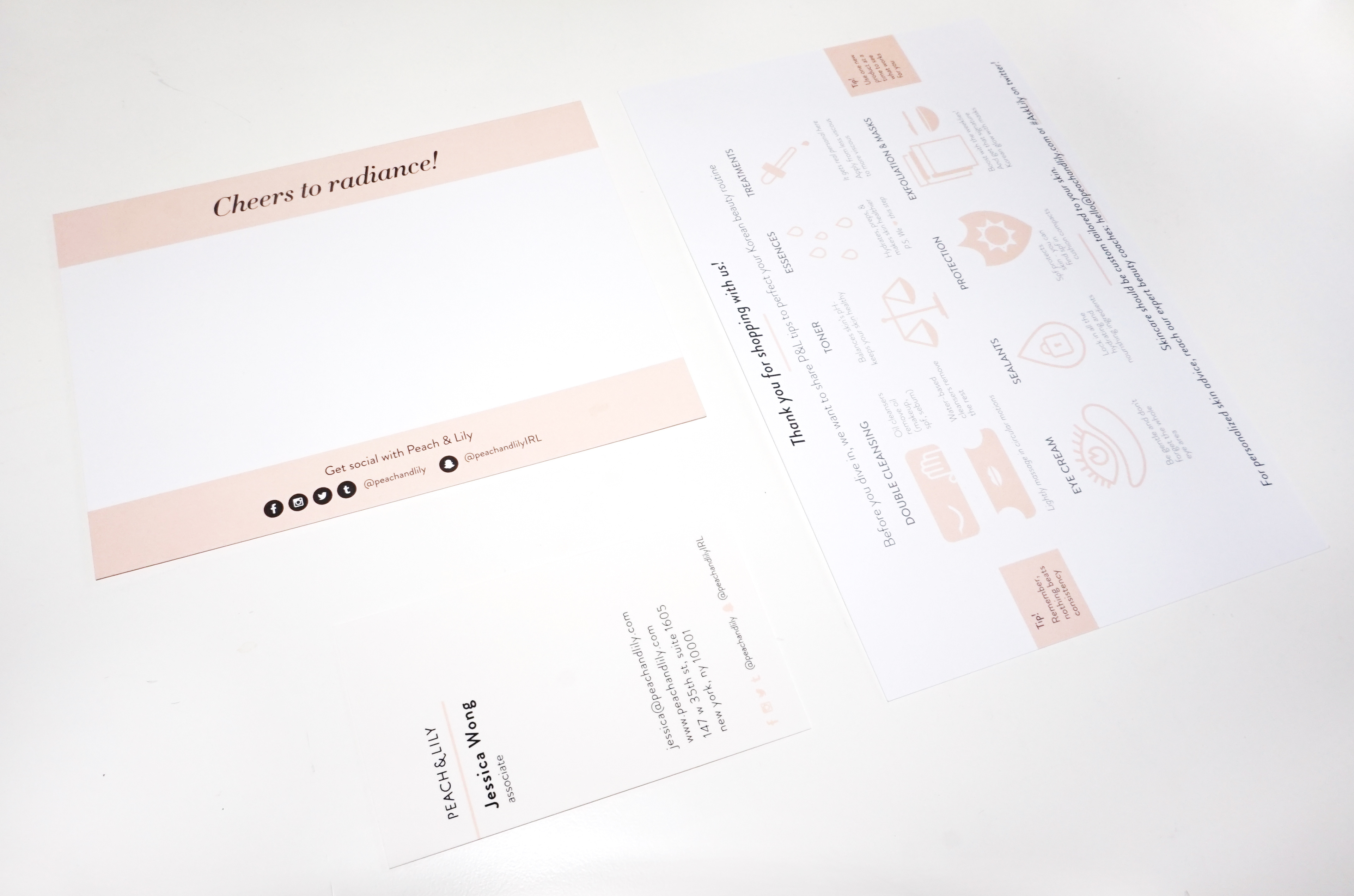 Jessica w peach lily print collateral business cards thank you cards 10 step korean beauty infographic inserts reheart Images