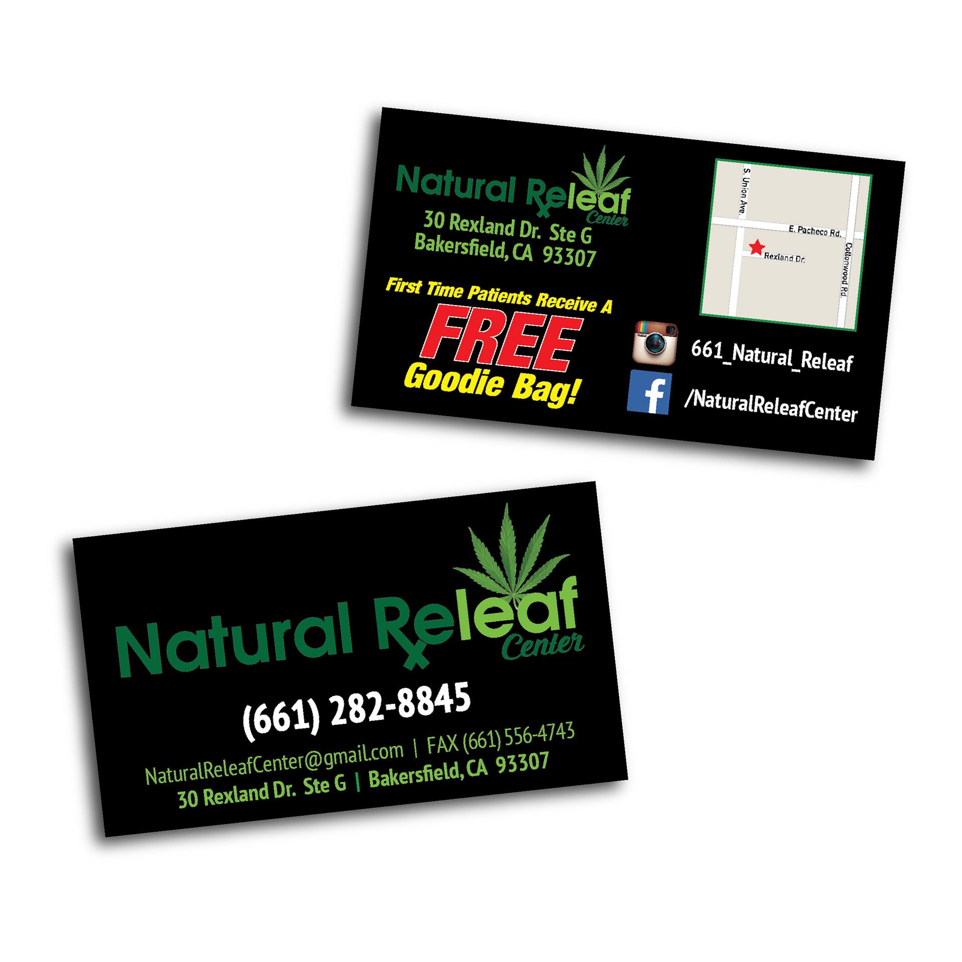 Ginomai creative design portfolio natural releaf center bakersfield ca logo design business card design reheart Images
