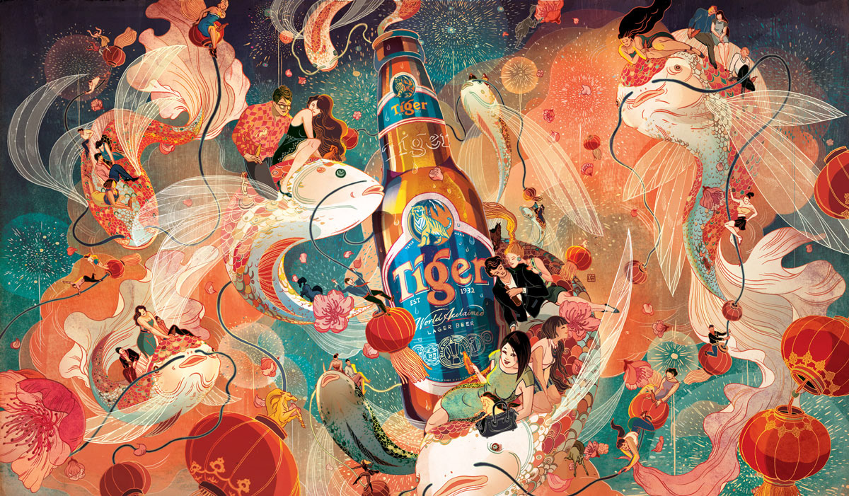 Victo Ngai A Happy Tiger Beer Chinese New Year