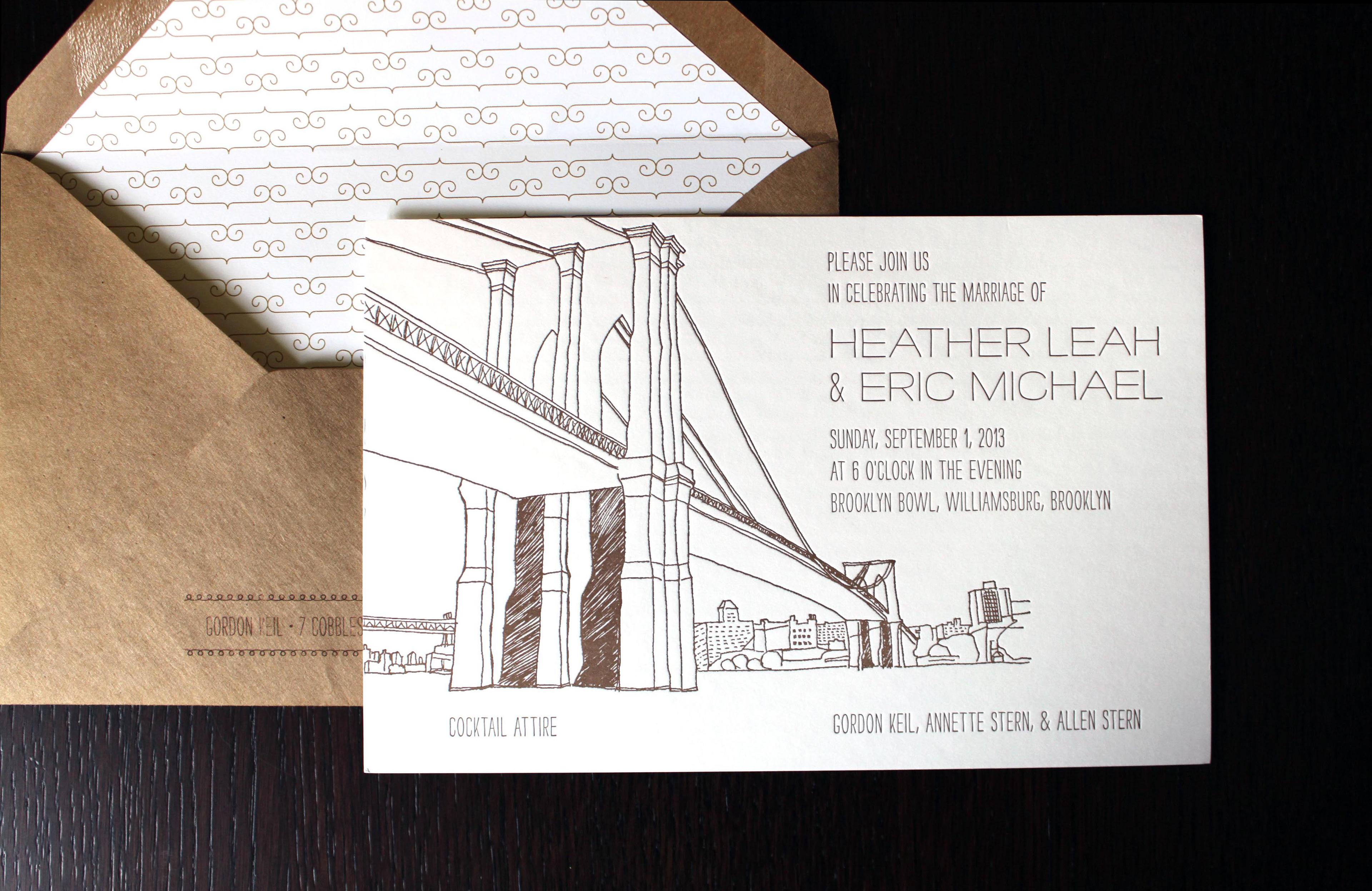 Jennifer Rozbruch Design - Brooklyn Wedding Invitation