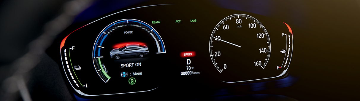The All-New 2019 Black Honda Insight Hybrid Sedan Interior Console at Jay Honda