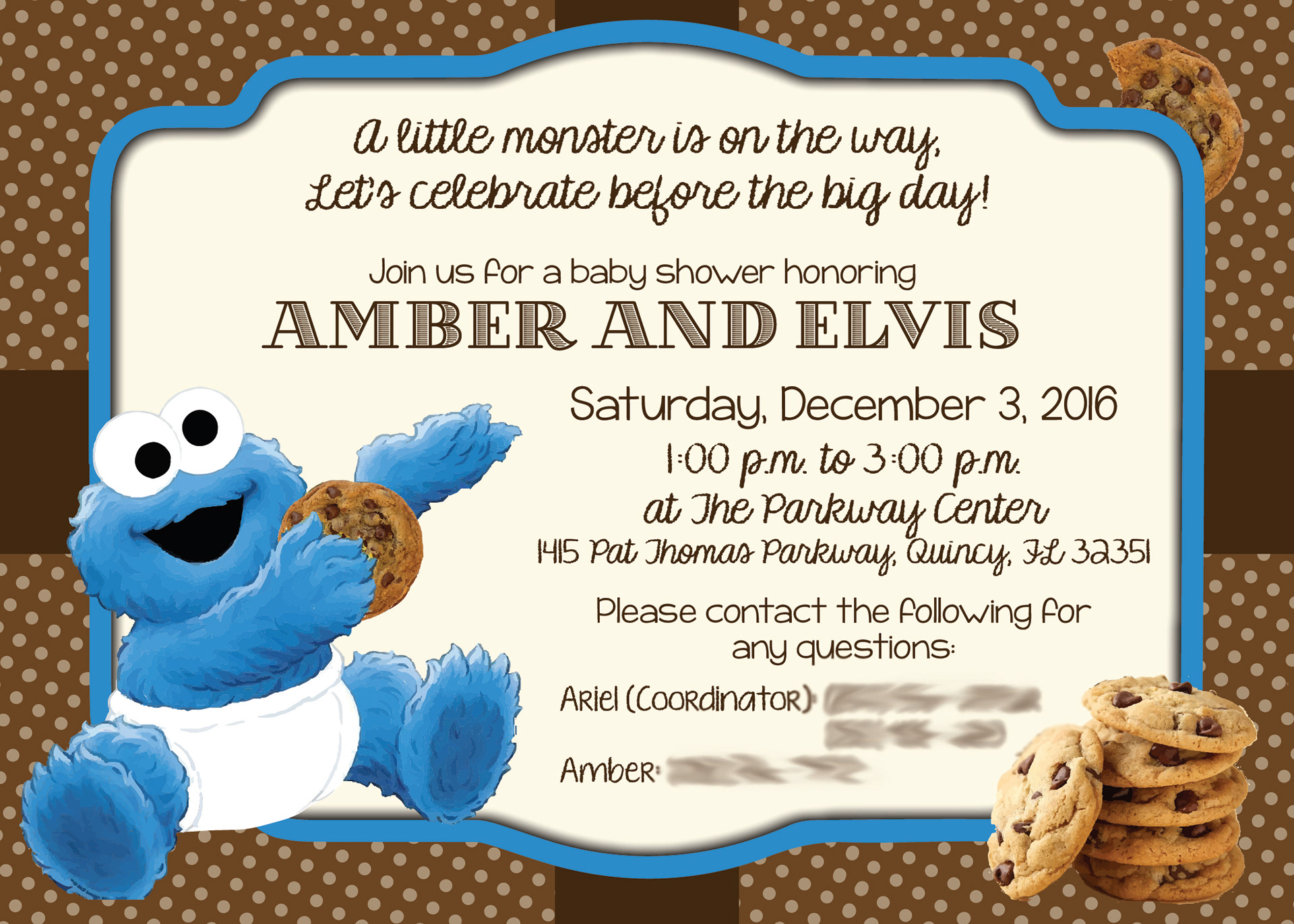 Wisheka Williams - Amber\'s Baby Shower Invitation (Cookie Monster Theme)