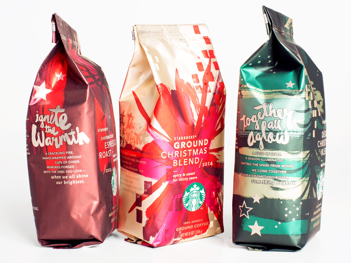 3fa4ac8b14c Created the typographic treatments for the Starbucks Holiday 2014  promotion, paper goods and packaging. The lettering was created by using a  brushpen and ...