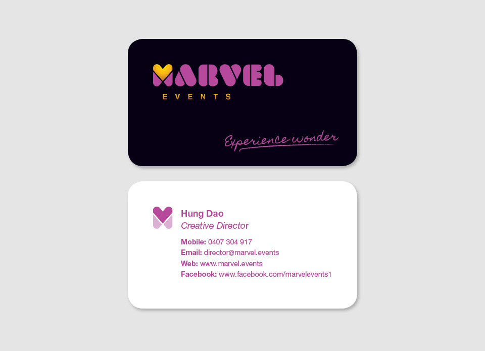 Ainger creative marvel events gold and black have been chosen to add a touch of sophistication to the branding and the rounded corners of the business cards unify with the logo font reheart Images