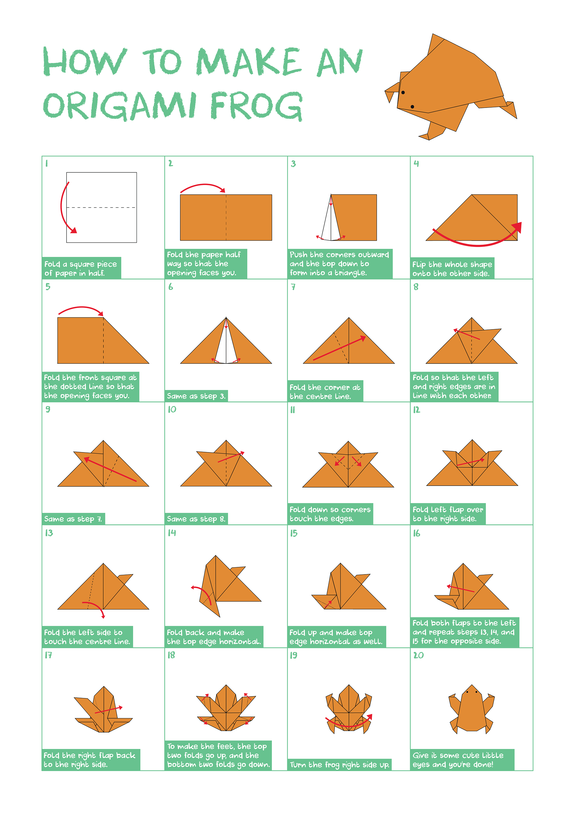 Jake moody origami frog a simple but detailed infographic displaying step by step instructions on how to create an origami frog jeuxipadfo Images