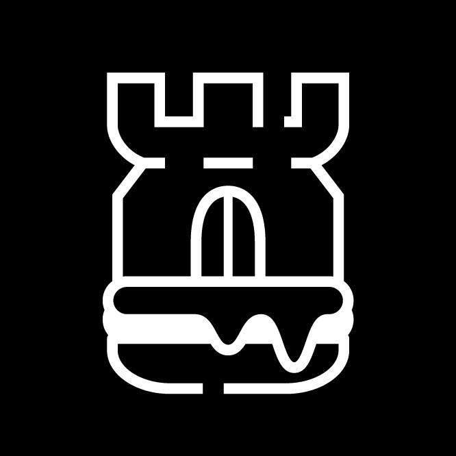 Weißes Cheeseburg Logo auf schwarzem Kreis