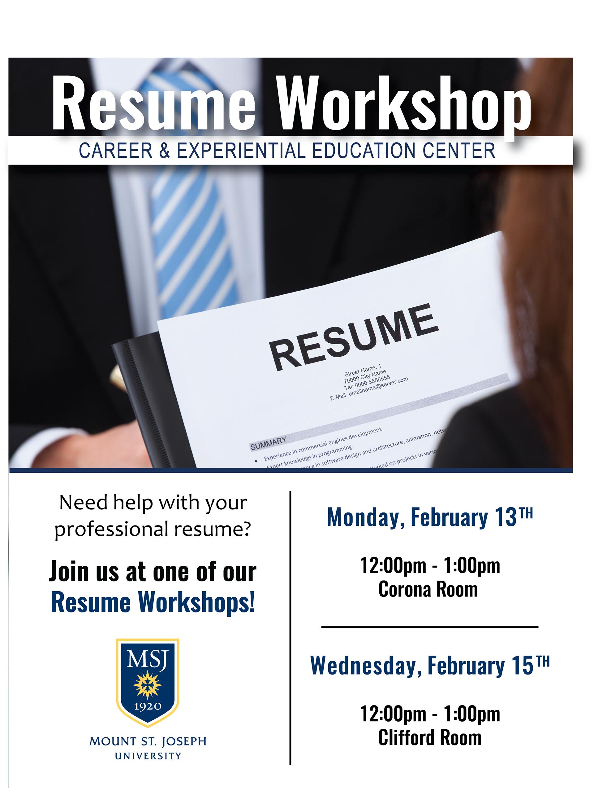 William Glass - Resume Workshop Flyer