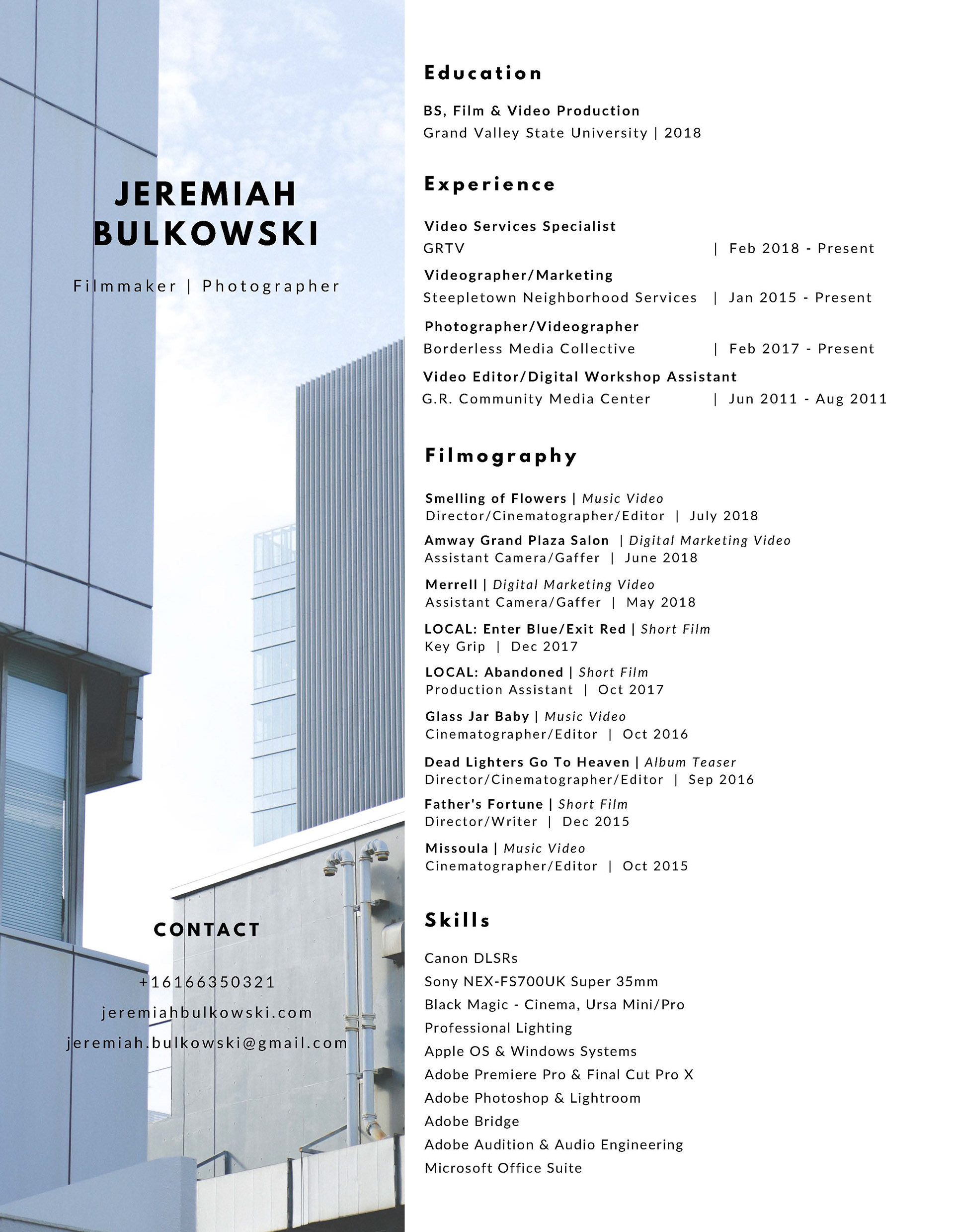 Jeremiah Bulkowski - Resume