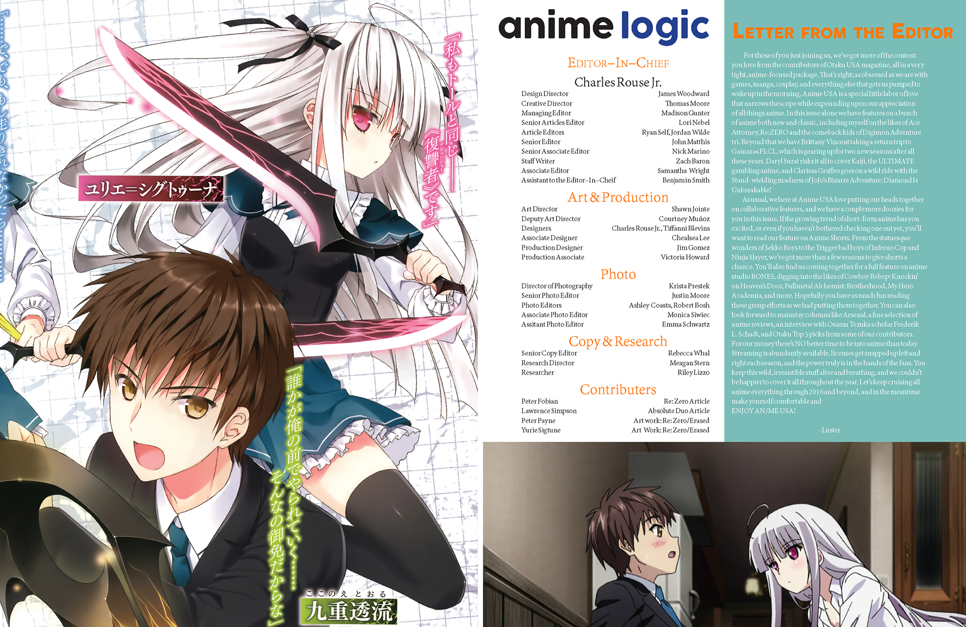 A magazine layout design for anime