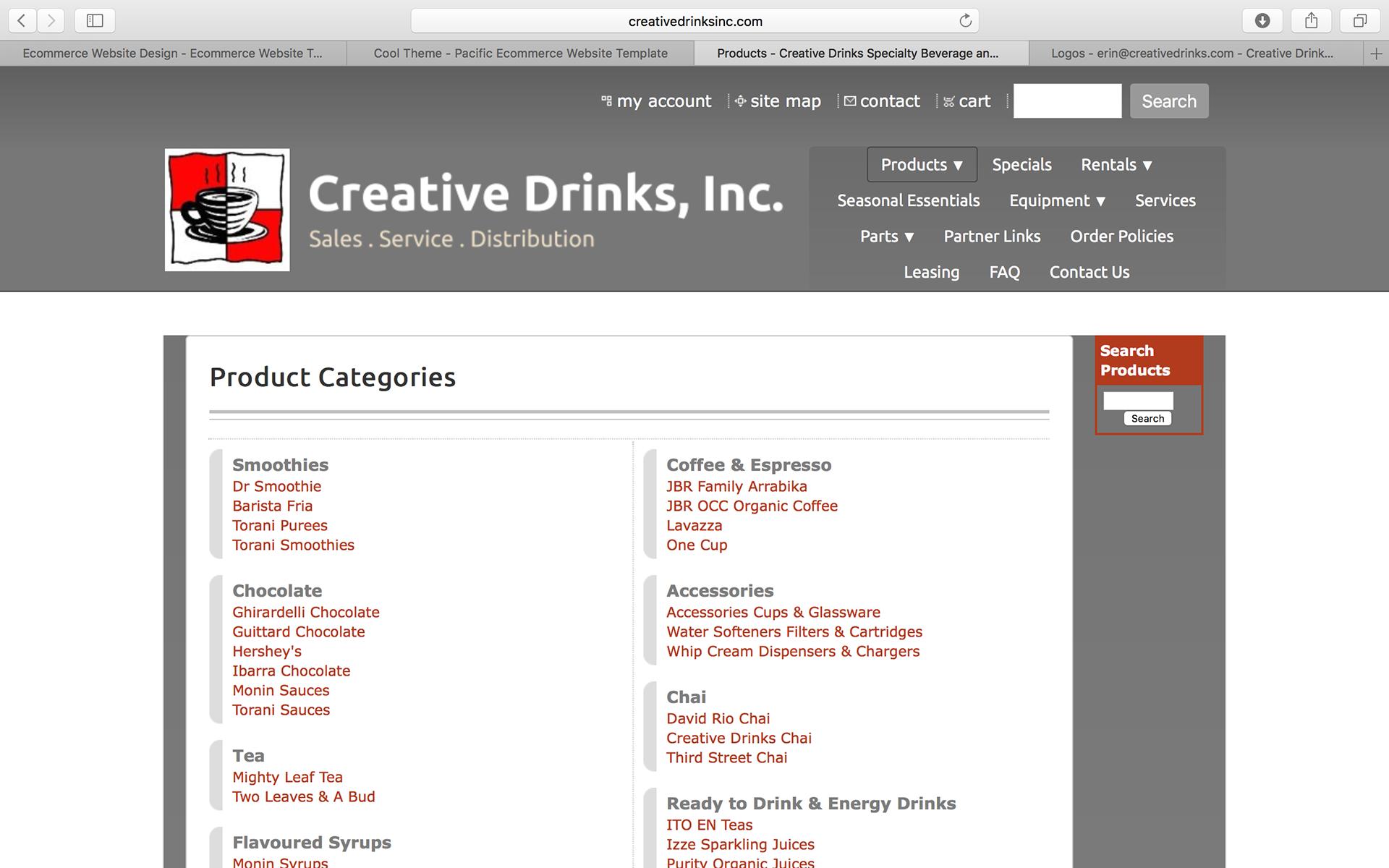 Erin Tucci Creative Drinks Inc Website Redesign