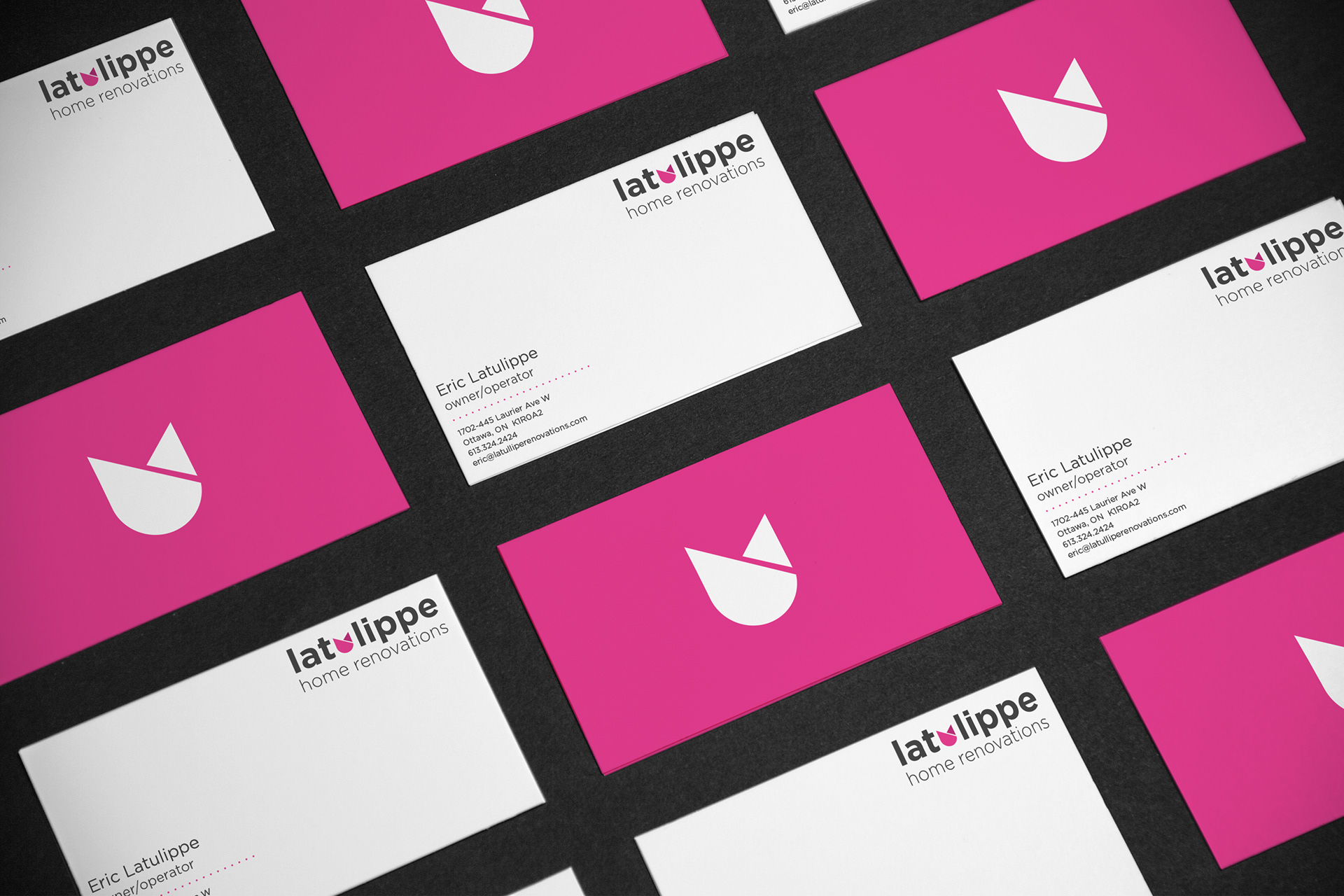 Ian durkin latulippe home renovation rebrand rebrand of latulippe home renovations logo business cards colourmoves
