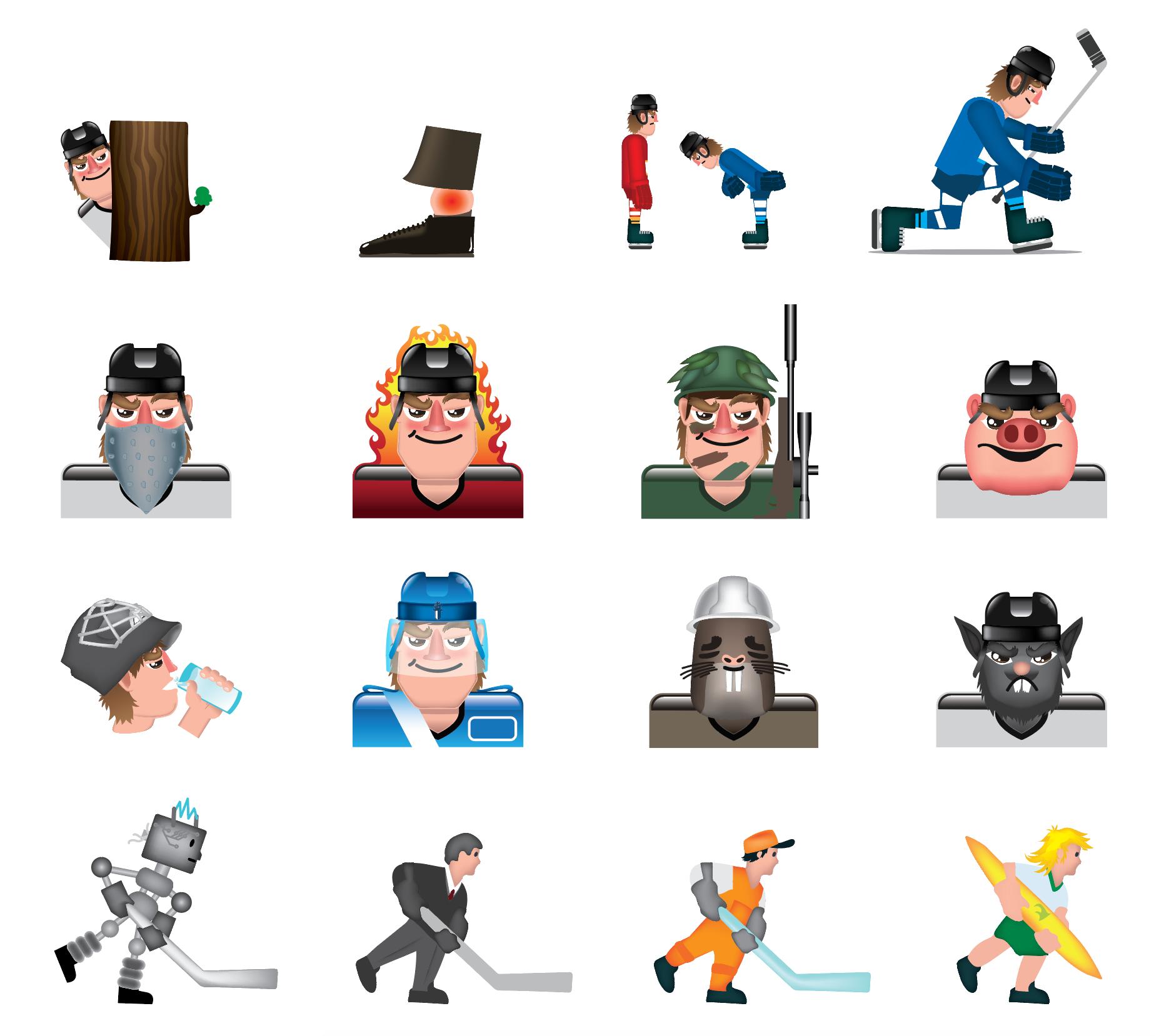 Illustrations of Ossi Pirkonen - Ice Hockey Emoji's