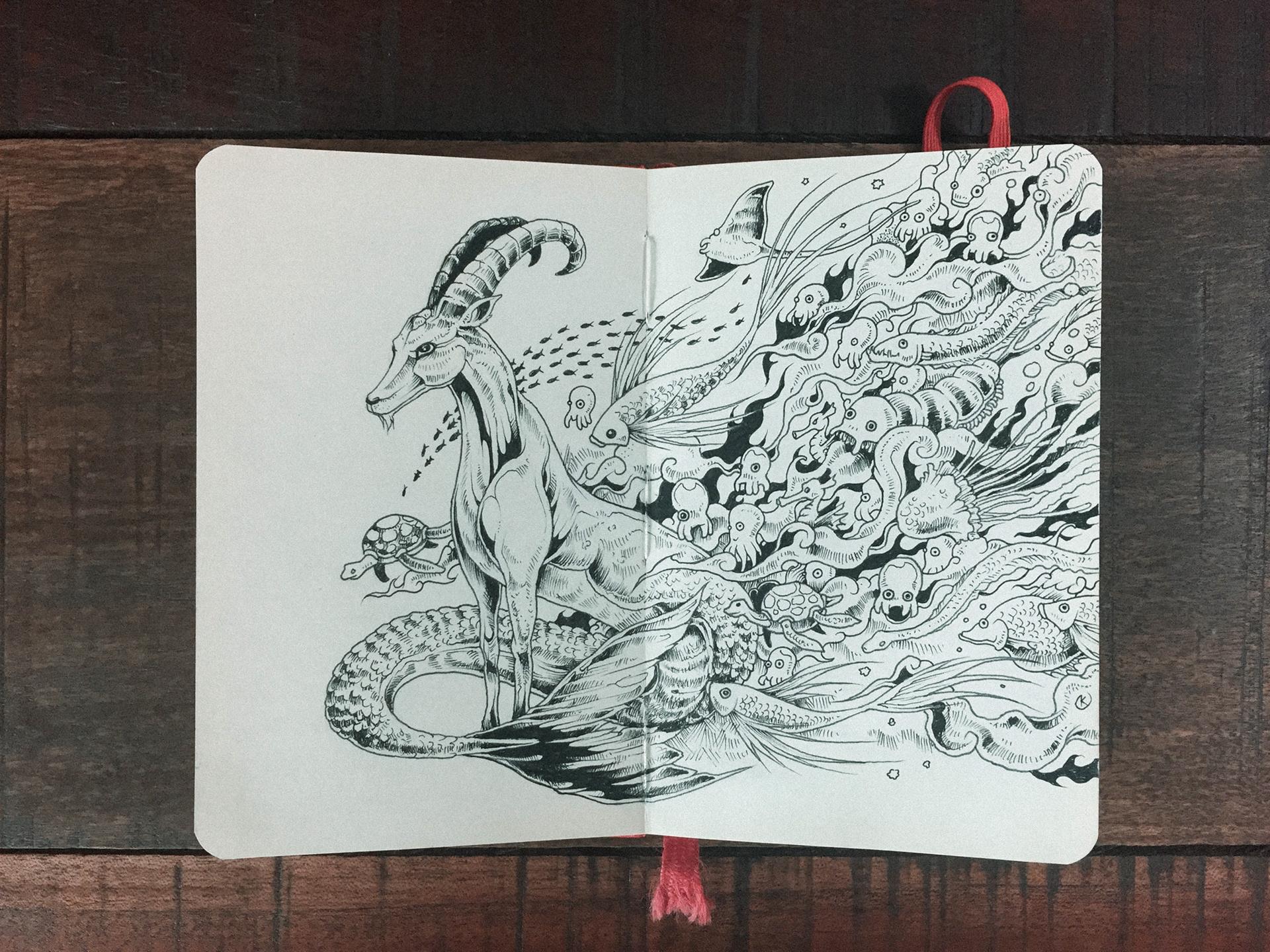 Selected Doodles And Illustrations From 2015 2016 Sketchbooks Done Using Markers Multiliners On Moleskine Pocket Sketchbook