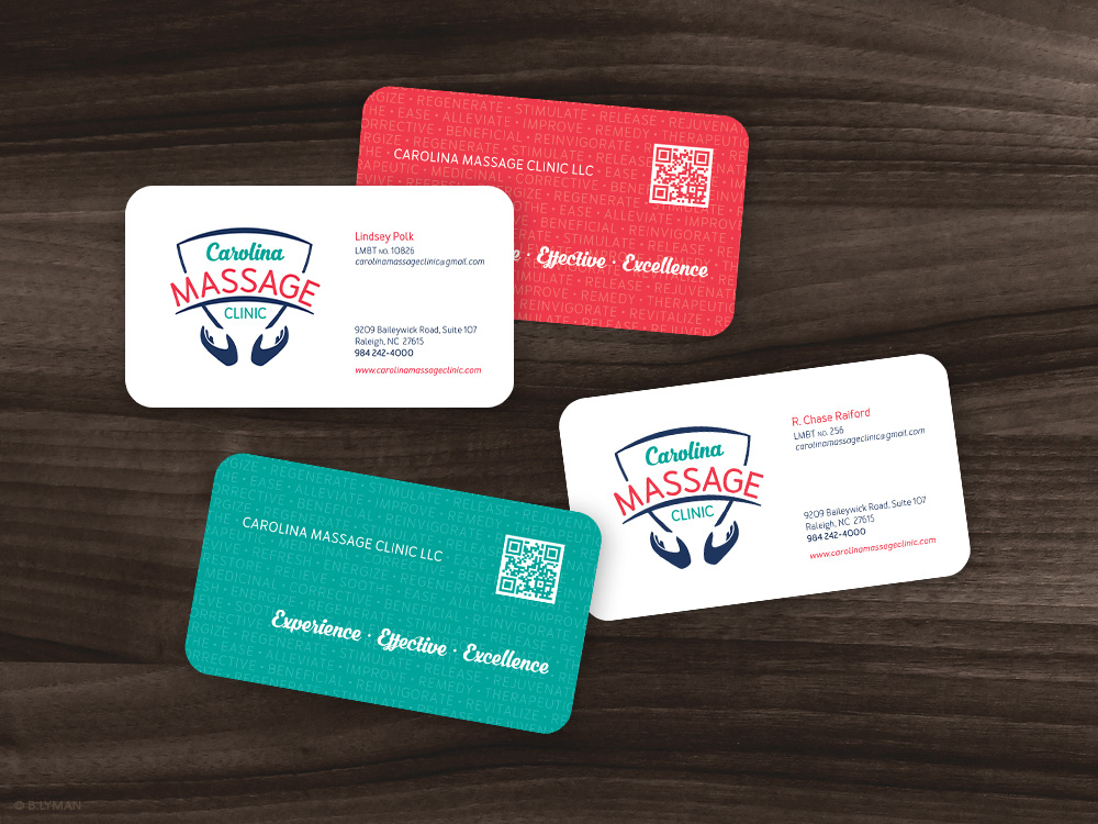 Design portfolio of brenda lyman carolina massage clinic double sided business cards with custom qr code reheart Images
