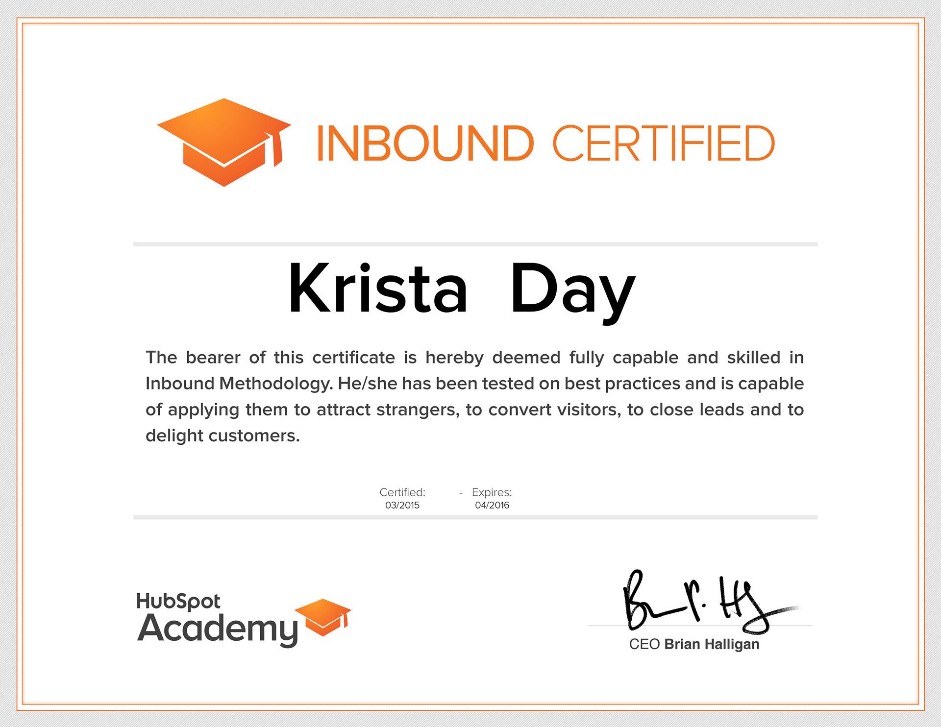 Krista M Day - Inbound Marketing Strategy
