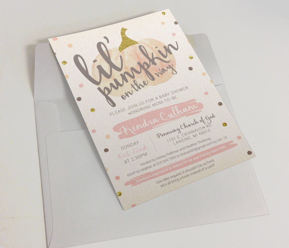 Thielking Creative - Lil\' Pumpkin Baby Shower Invitation and Collateral