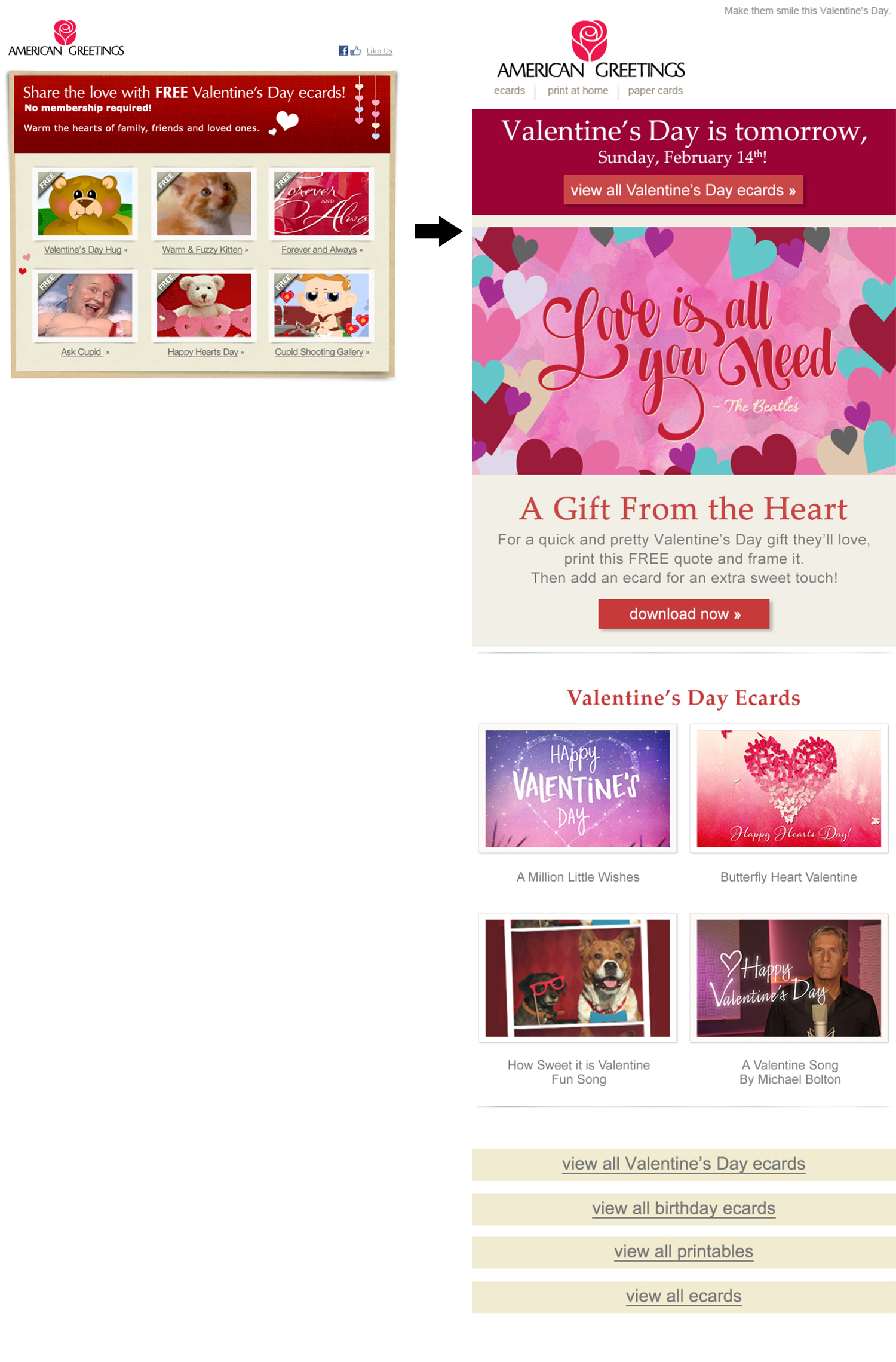 Olivia vitou american greetings marketing emails old design l vs new creative design r valentines campaign testing top banners and navigation as well as using the hand lettered love is all you need kristyandbryce Images