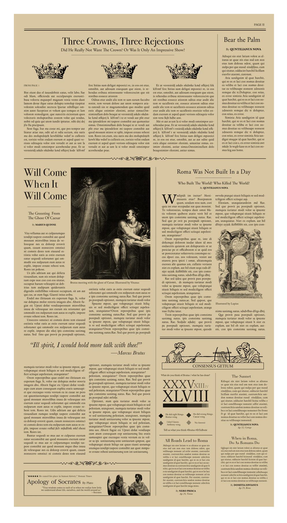 julius caesar newspaper article