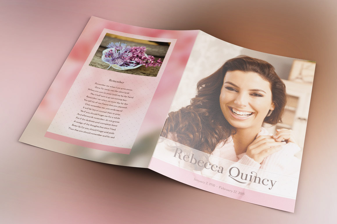 Glamour Funeral Program Template Is A Modern Memorial Or Service It Uses Soft Colors And Transparency For An Elegant Theme