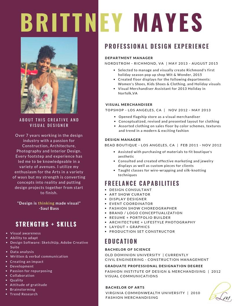 Brittney Mayes - Professional & Design Resume