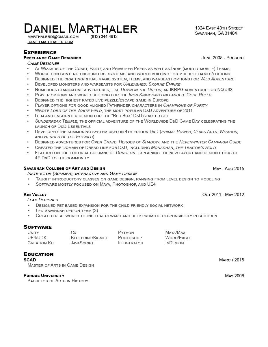 Daniel Marthaler Contact Resume