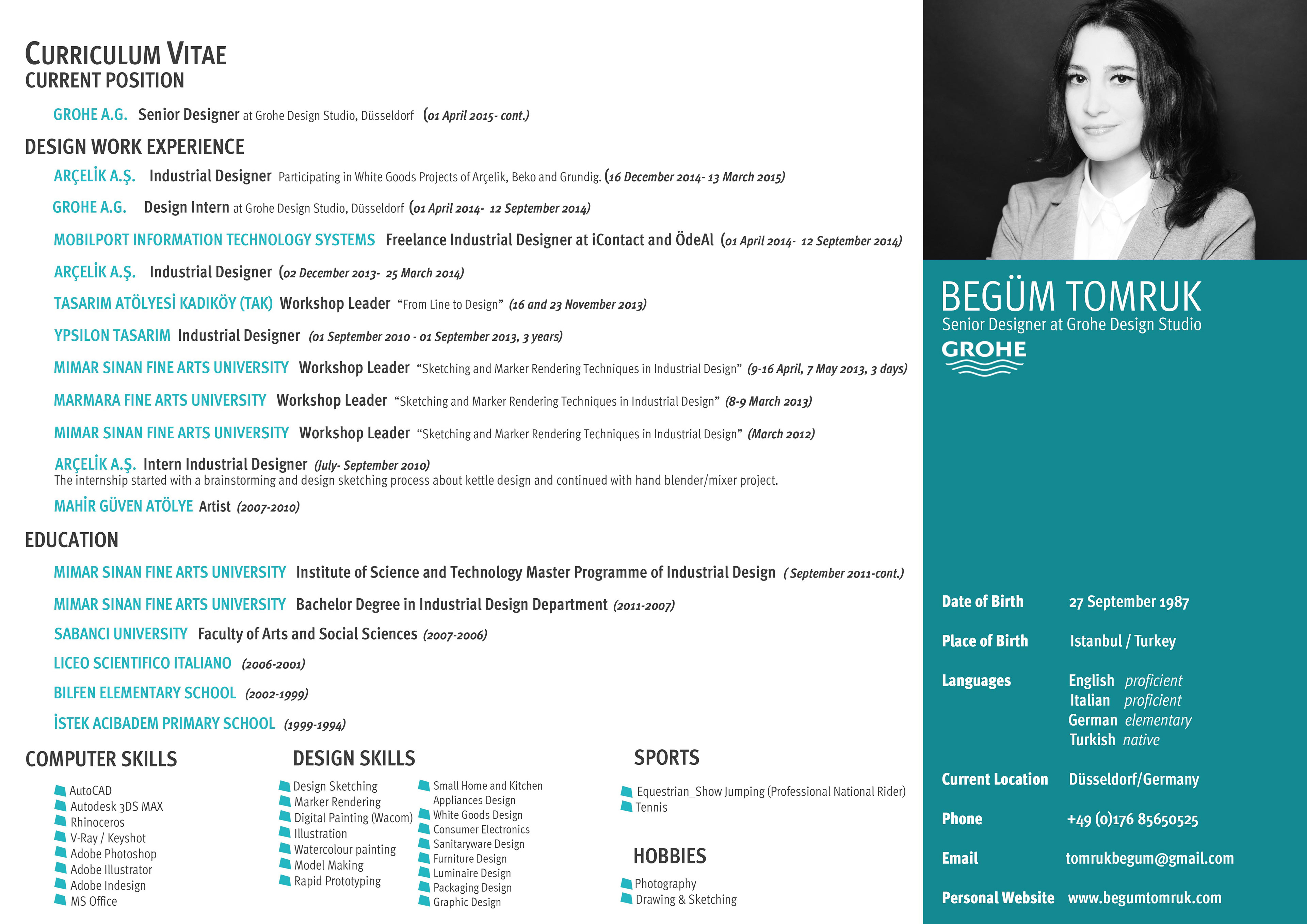 Begum Tomruk Industrial Designer Cv