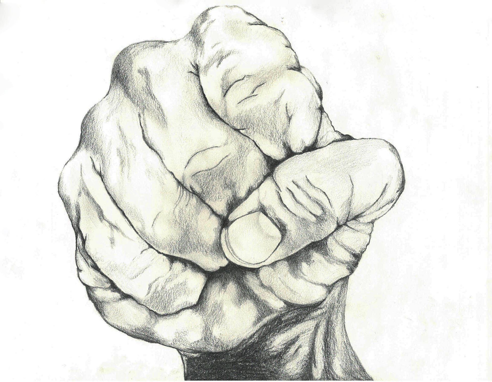 Fist pencil drawing