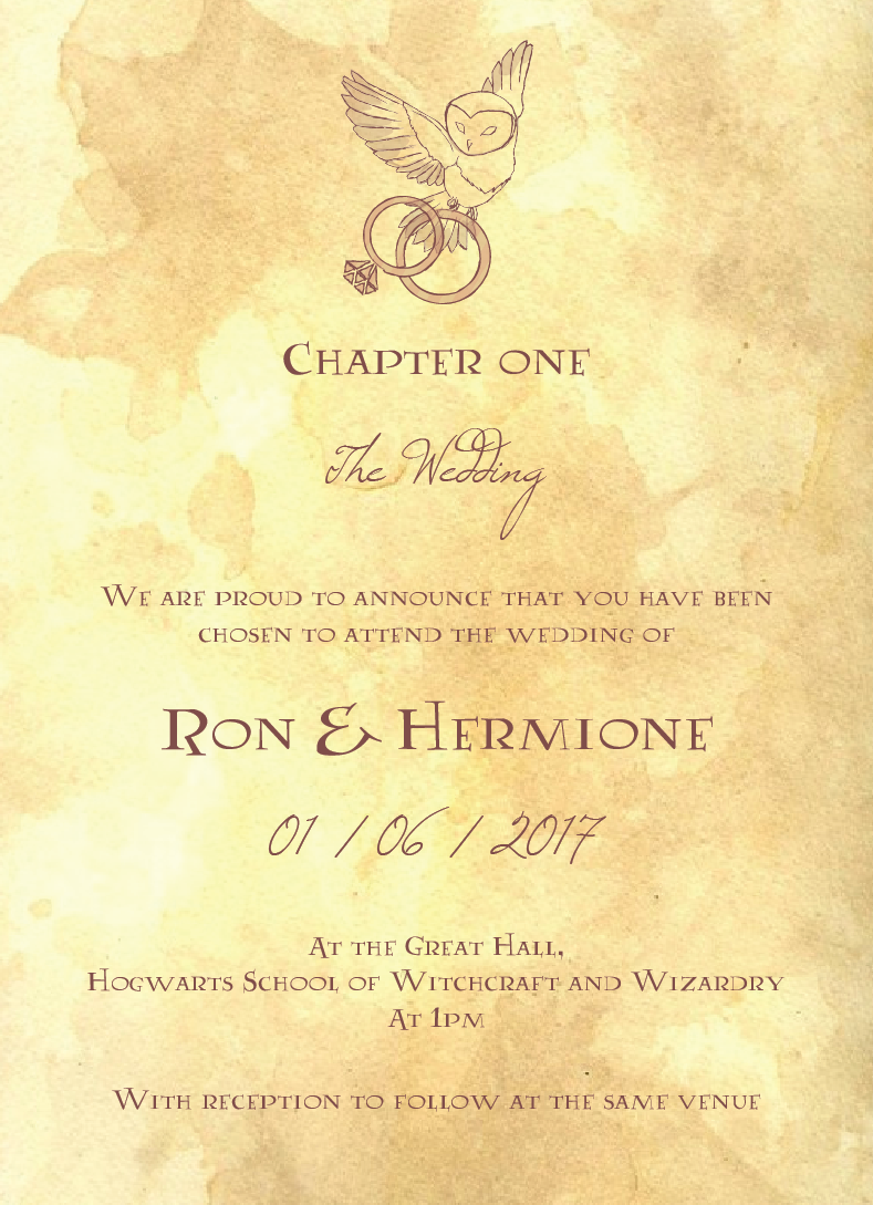 Show Your Love For The Wizarding World Of Harry Potter With These Magical Wedding Invitations
