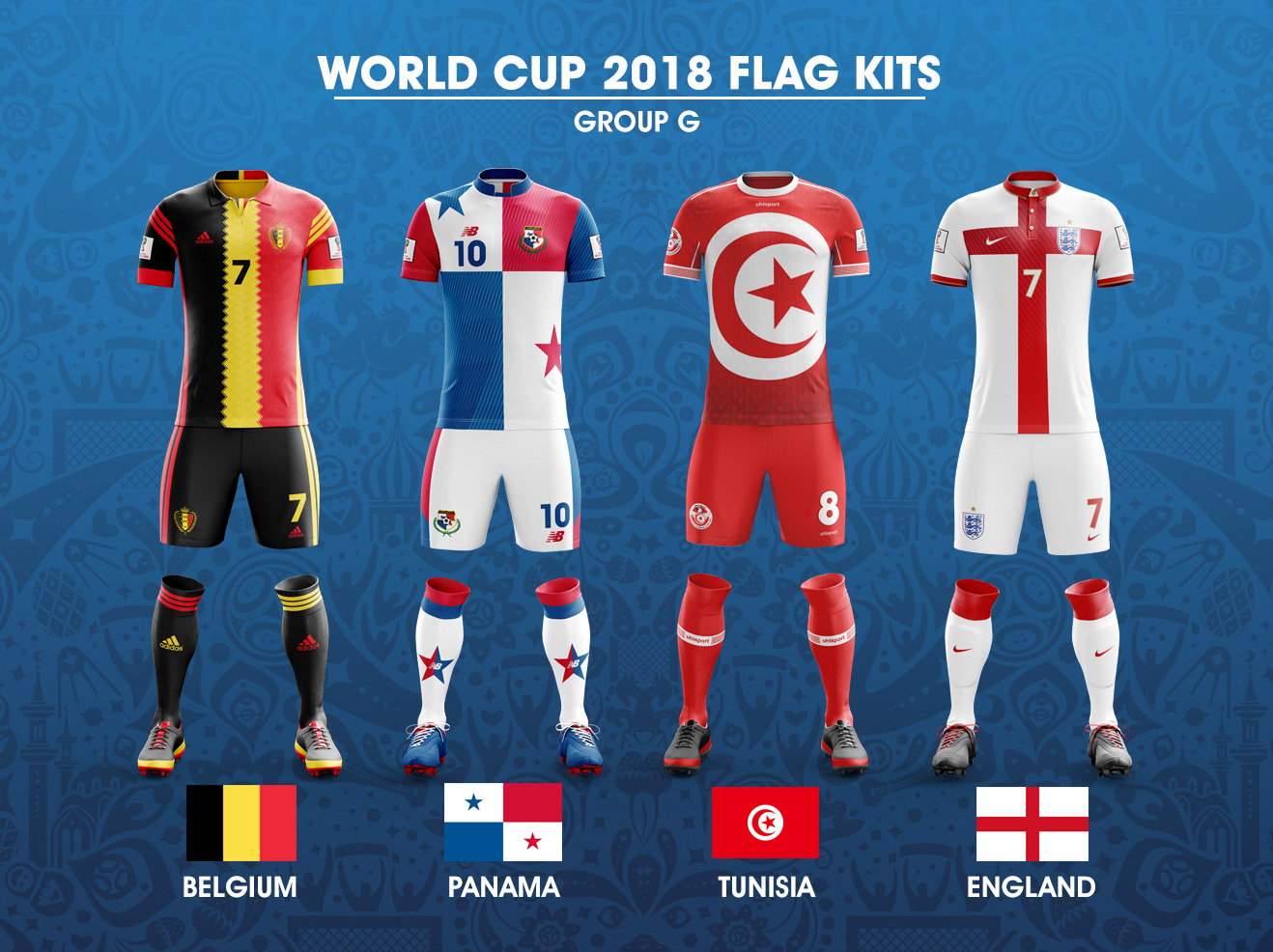 So I ve adapted each nation s flag to their kit. The result being. 15d67ee3c