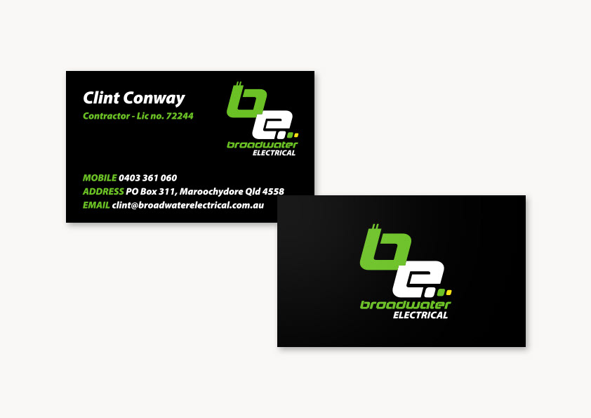 Michelle craik broadwater electrical logo and business card design colourmoves