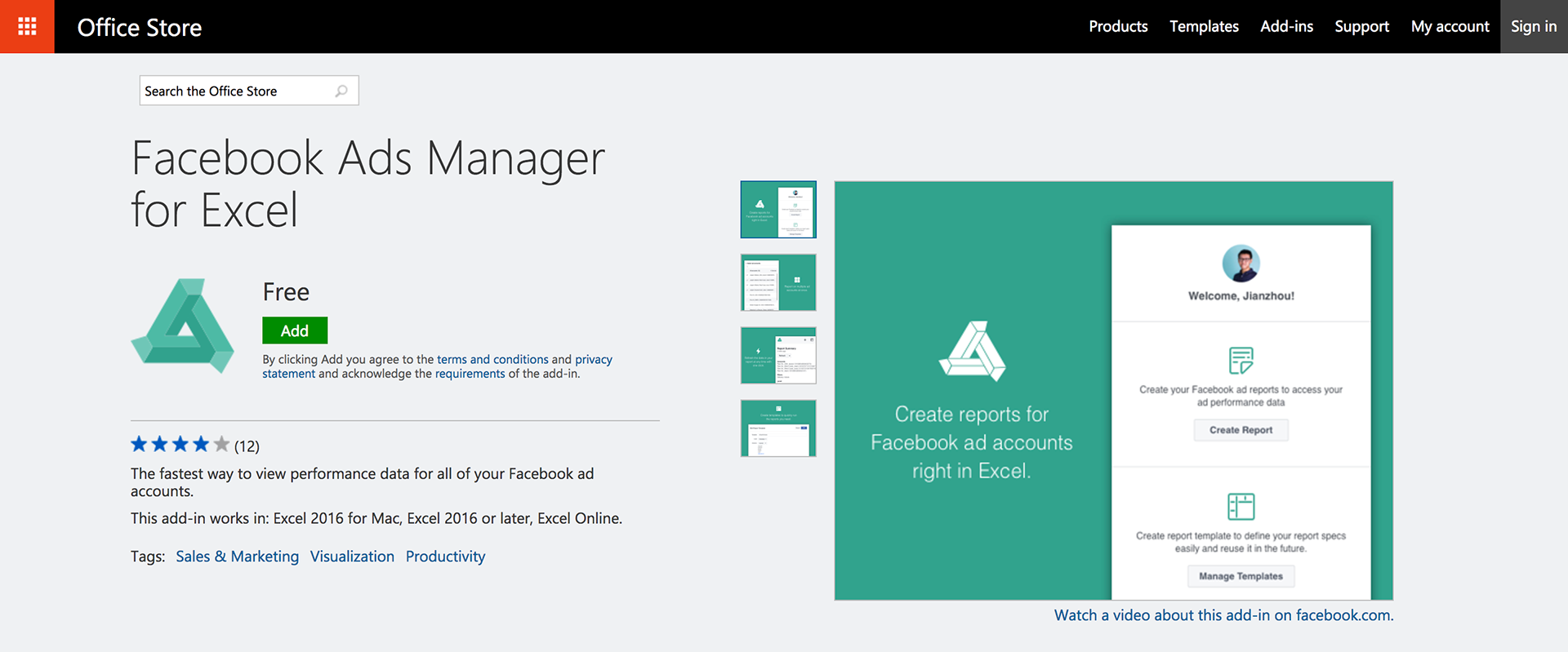 Leonardo De La Rocha Facebook Ads Manager For Excel - Facebook ads report template