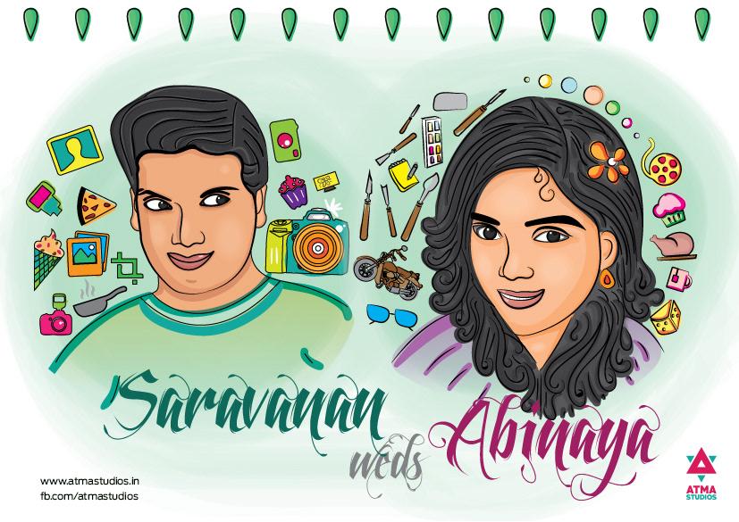 Caricature Indian Wedding Invite Design