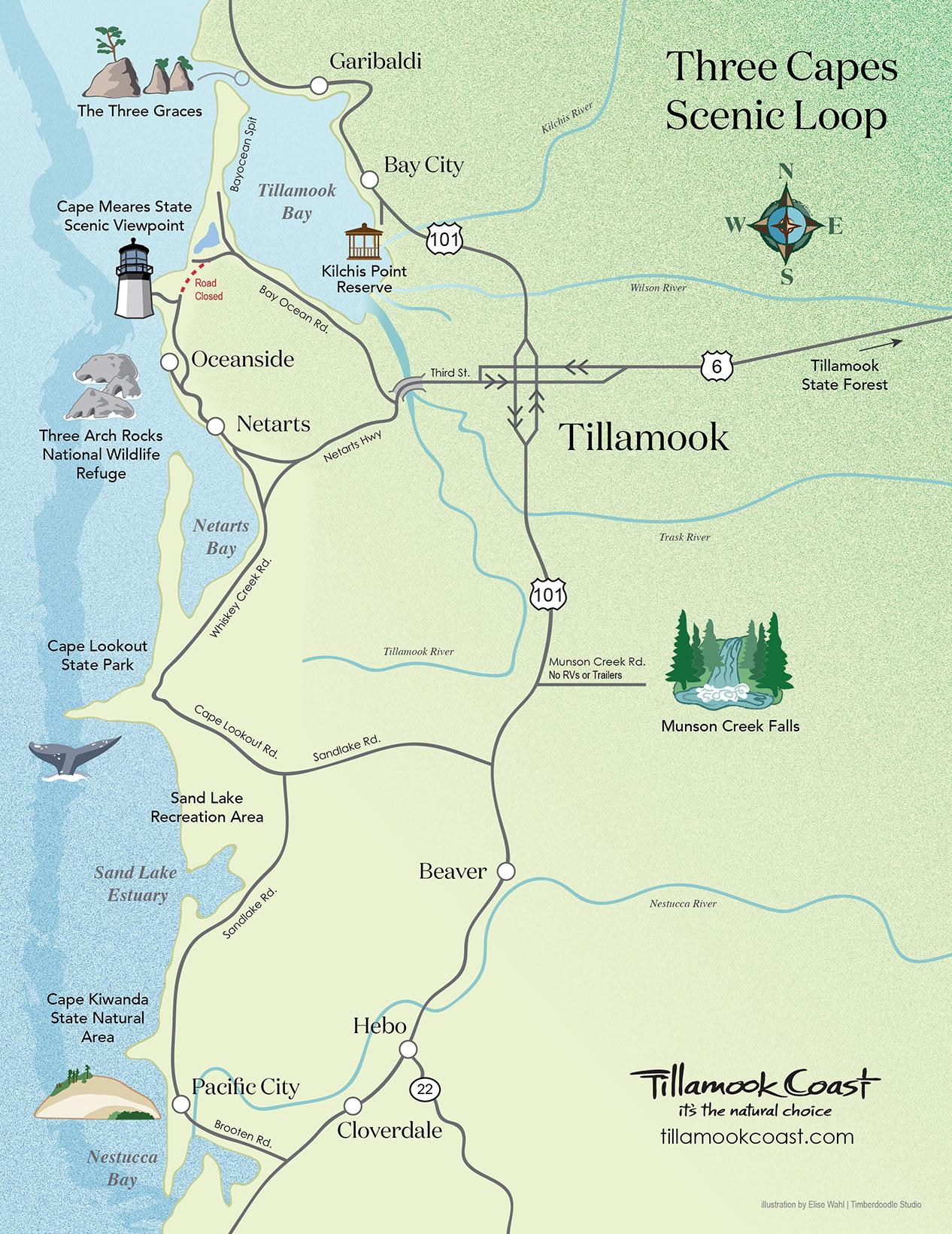 Timberdoodle Studio - Tillamook Scenic Route Map